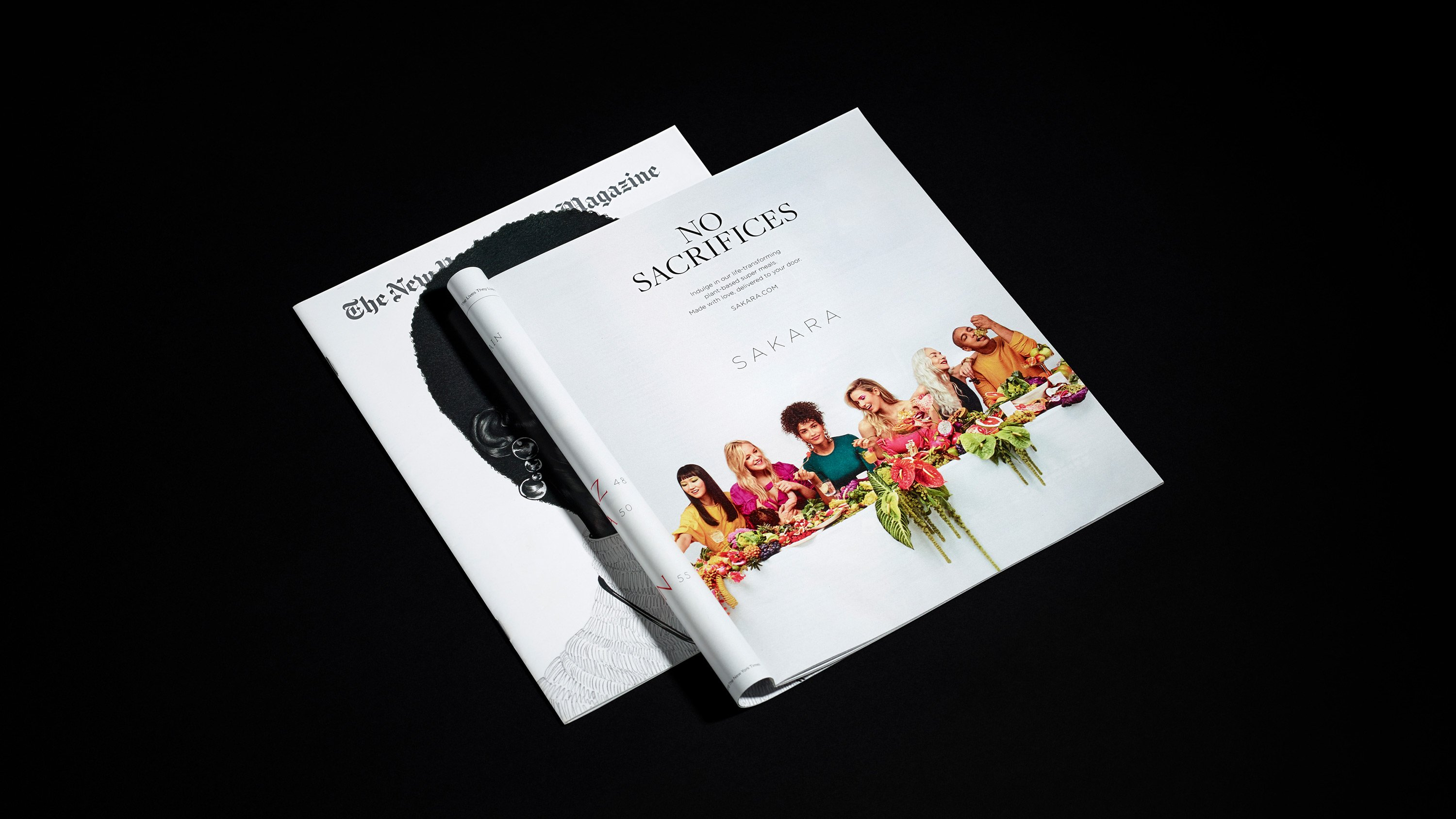Sakara No sacrifices full-page ad in New York Times Magazine. Campaign Art direction by RoAndCo