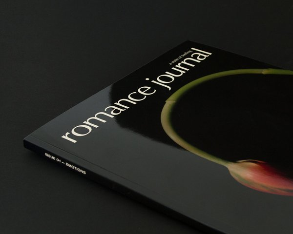 Romance Journal Issue 01 Emotions cover. Publication design, art direction, print design, interviews by RoAndCo.
