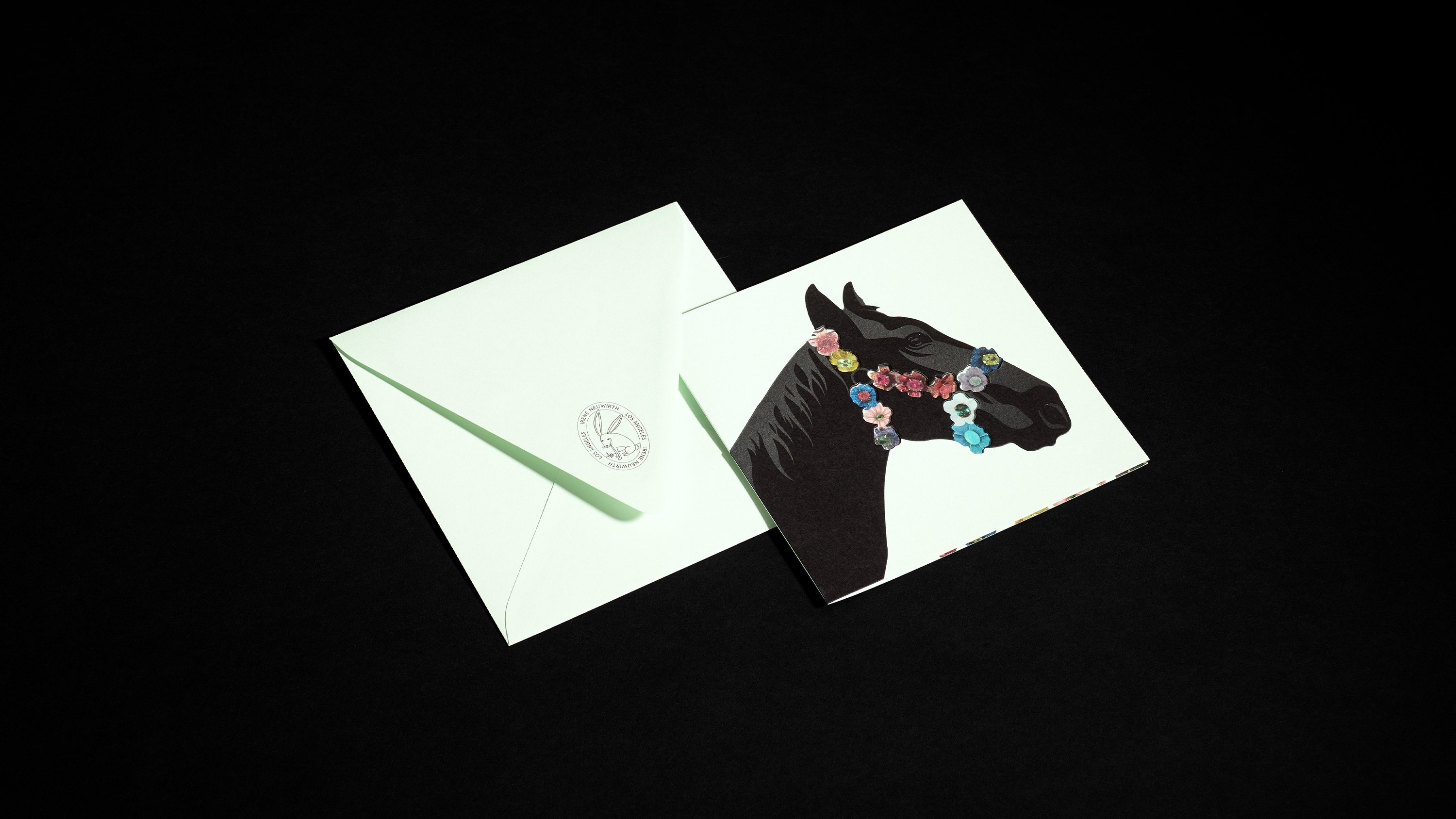 Irene Neuwirth card with illustrated black horse wearing jeweled halter. Art direction and print design by RoAndCo