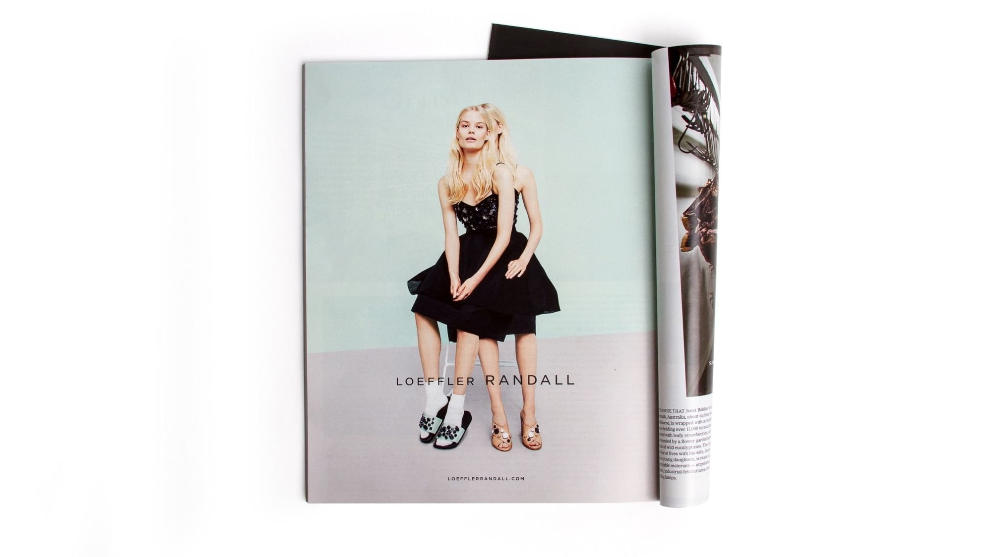 Photo of magazine ad, Loeffler Randall sandals. Branding and Art direction by RoAndCo