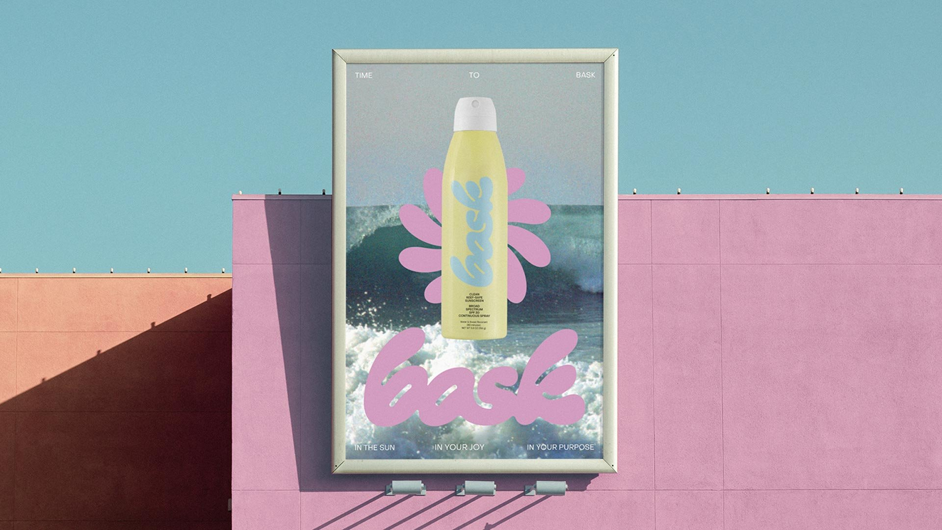 Bask Yellow Continuous Spray Bottle Poster on a Billboard by RoAndCo