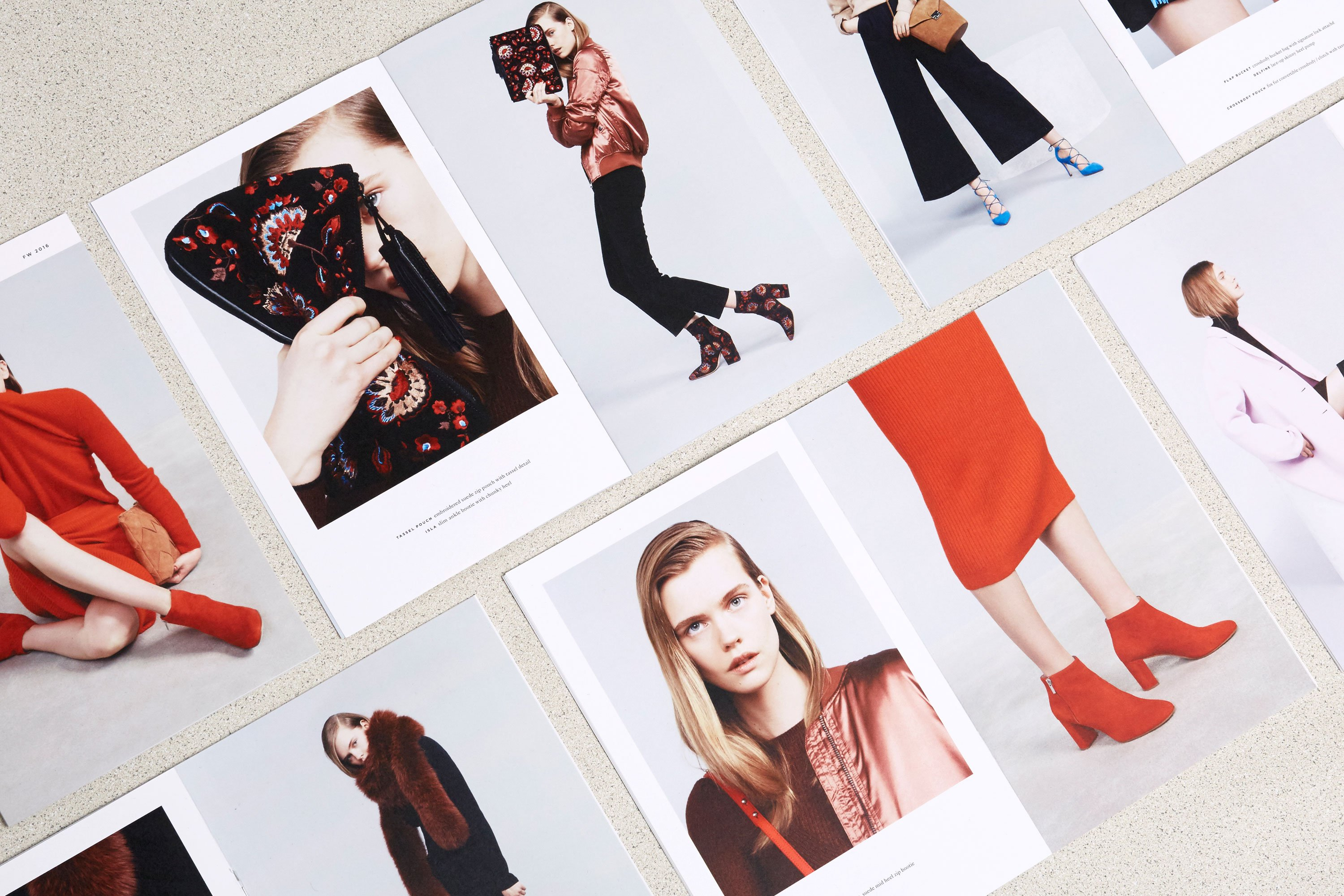 Close up of various Loeffler Randall cards featuring different red shoes and accessories. Art direction and print design by RoAndCo