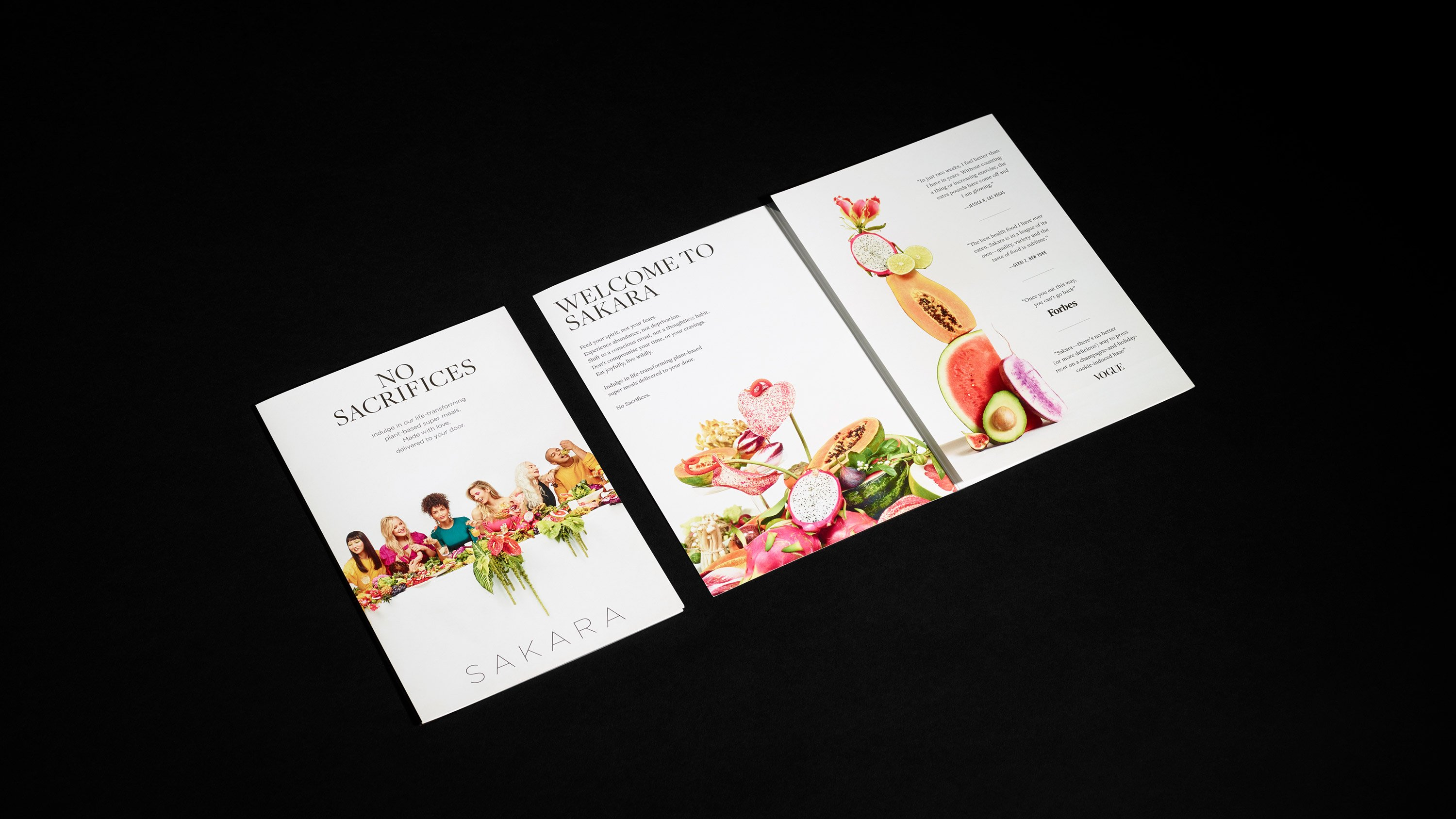 """Sakara """"No Sacrifices"""" campaign direct-mailer 3-up, Art direction and design by RoAndCo"""