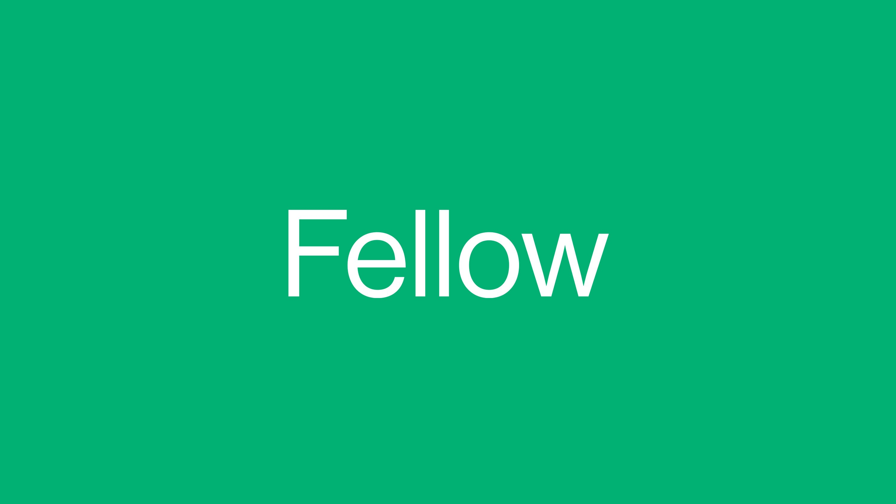Fellow logo in white on green background, designed by RoAndCo
