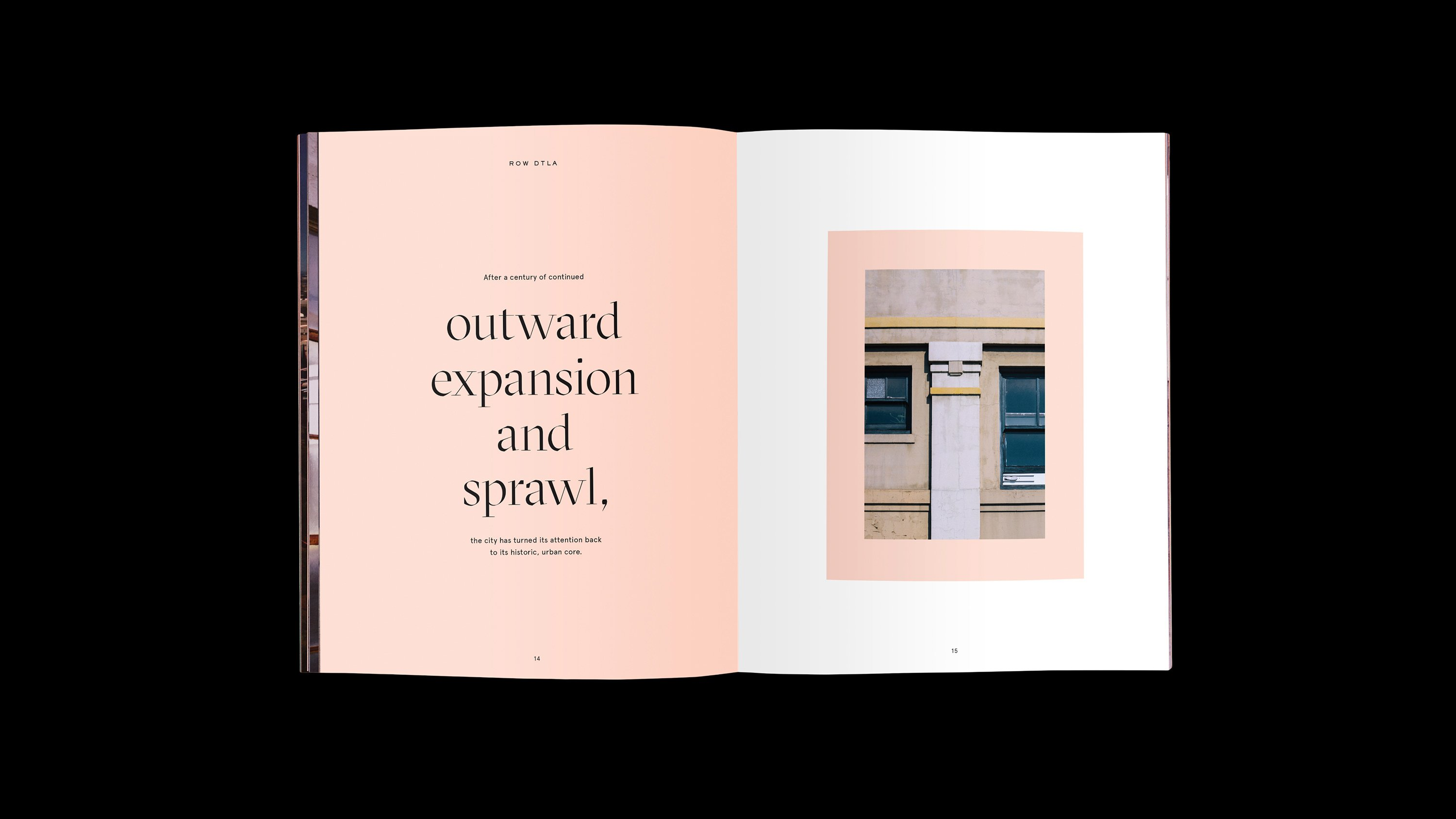 Row DTAL Brand Book interior spread, branding and print design by RoAndCo