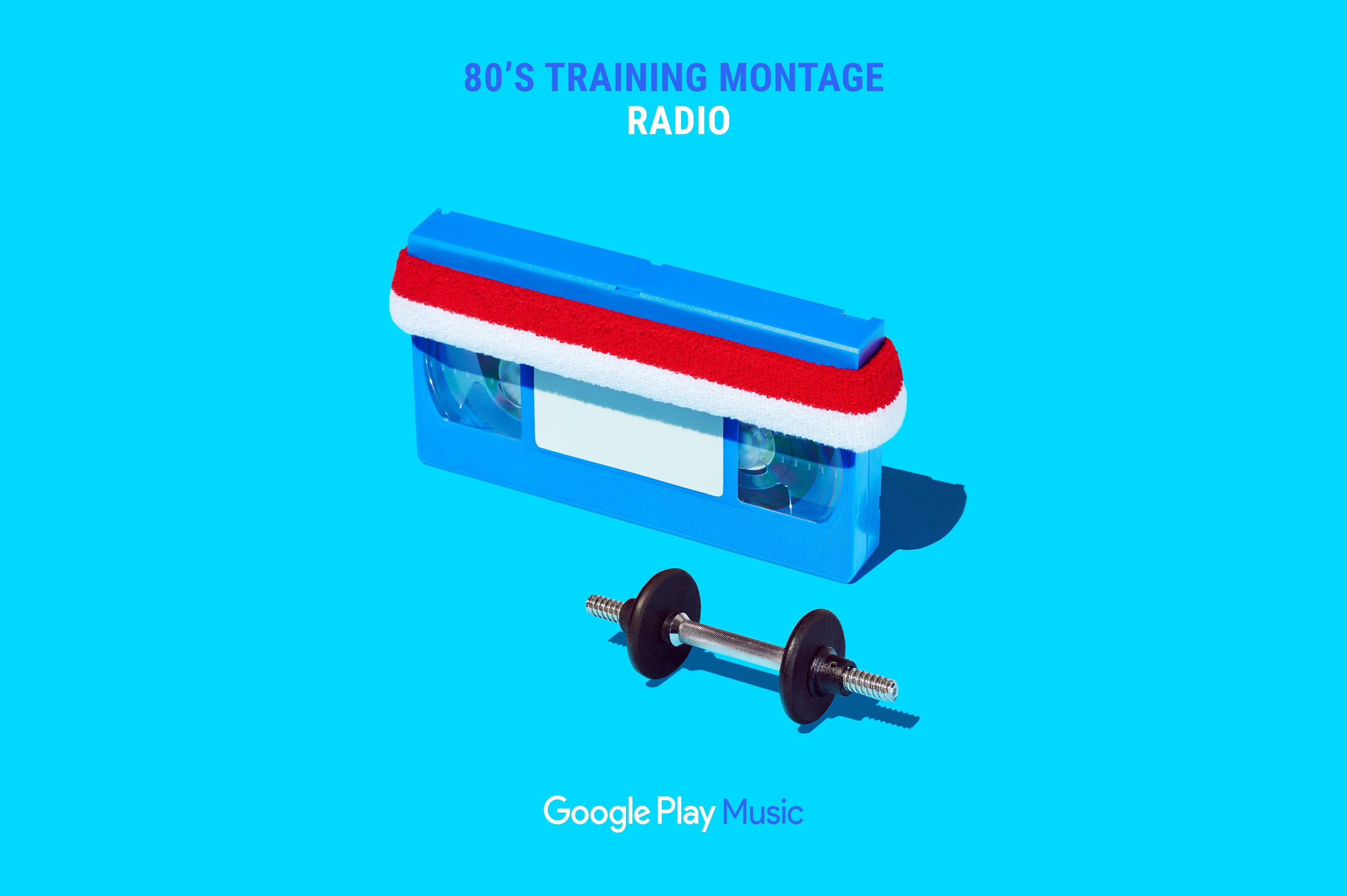 Google Play Music – 80s Training Montage Radio ad featuring blue tap cassette wearing a sweatband. Campaign concept and Art Direction by RoAndCo