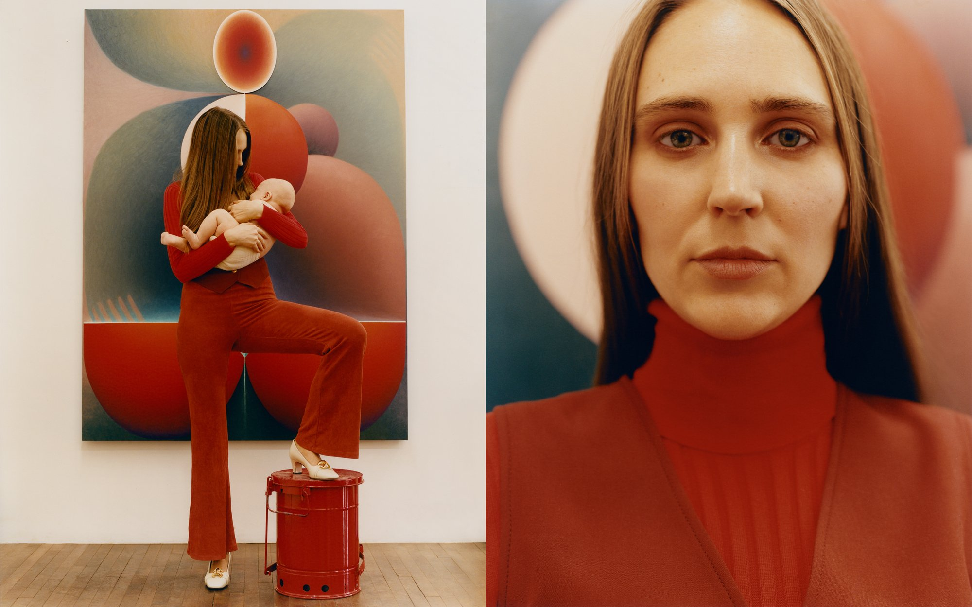 Loie Hollowell holding her baby in red Gucci suit for Romance Journal Issue 03. Publication design, art direction, print design by RoAndCo. RoAndCo partnership with Gucci