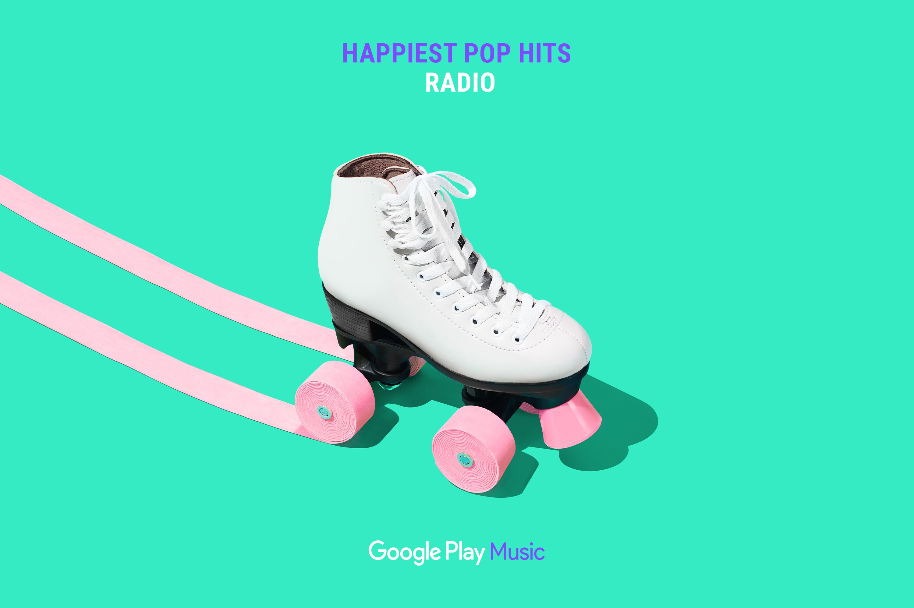 Google Play Music – Happiest Pop Hits Radio ad featuring roller skate with bubble gum tape wheels. Campaign concept and Art Direction by RoAndCo