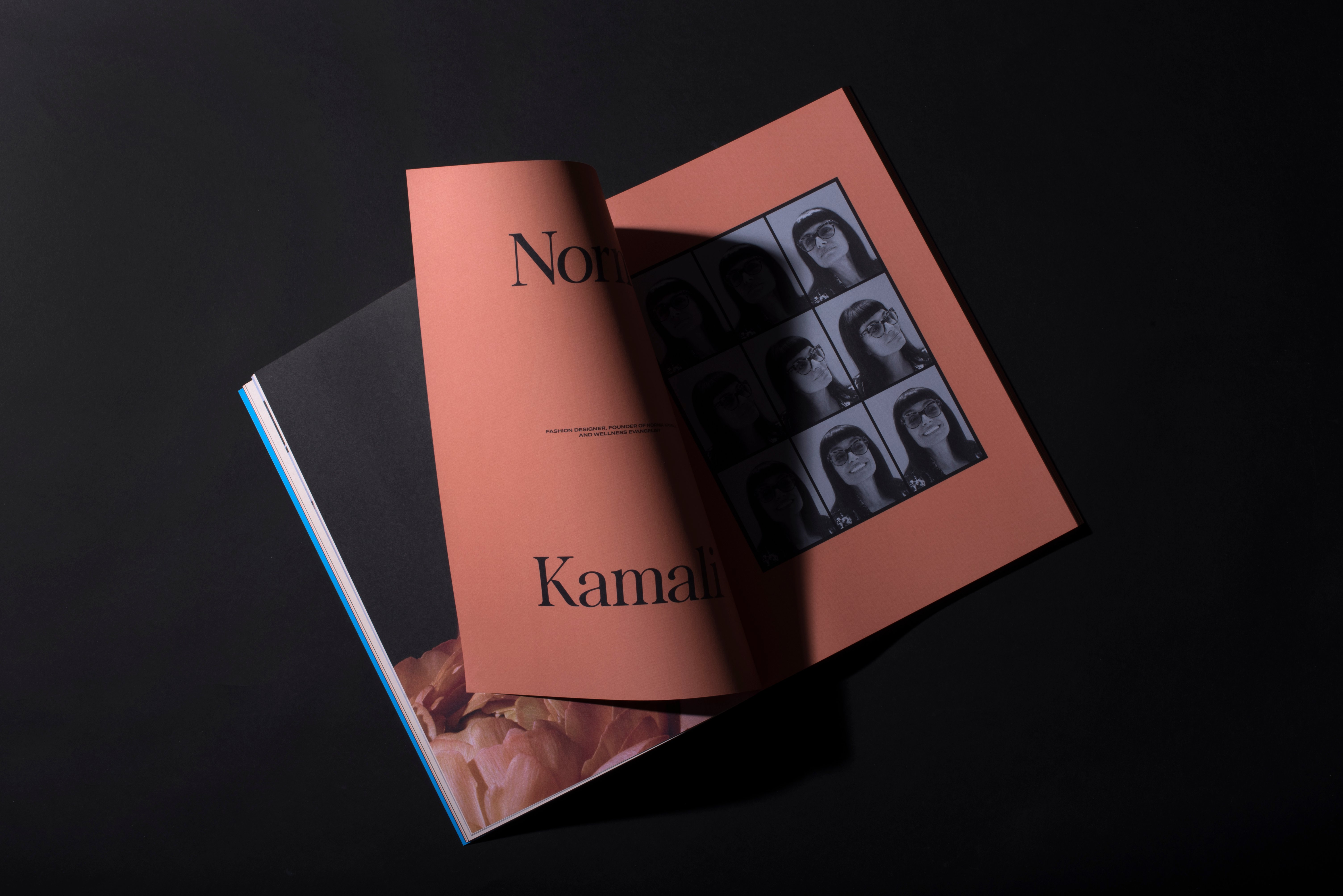 Romance Journal Issue 01 – Norma Kamali interior spread. Publication design, art direction, print design, interviews by RoAndCo.