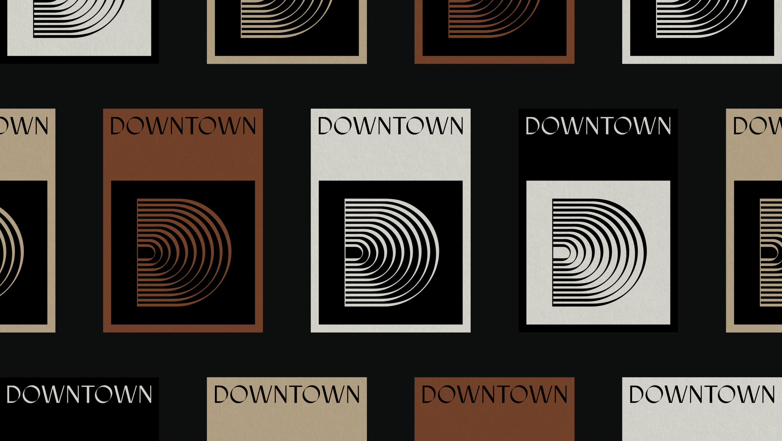 Downtown Music Group secondary mark prints, various posters featuring custom D secondary mark, designed by RoAndCo Studio