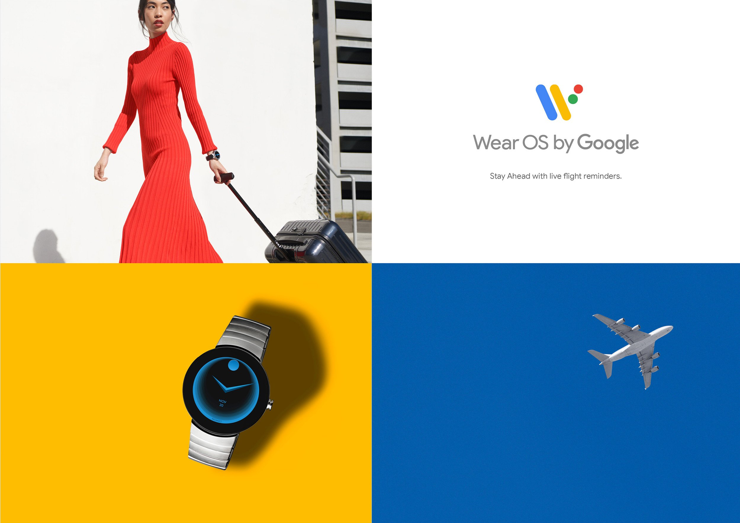 Google Wear OS Campaign ad, Stay ahead with live flight reminders. Art Direction and Campaign by RoAndCo