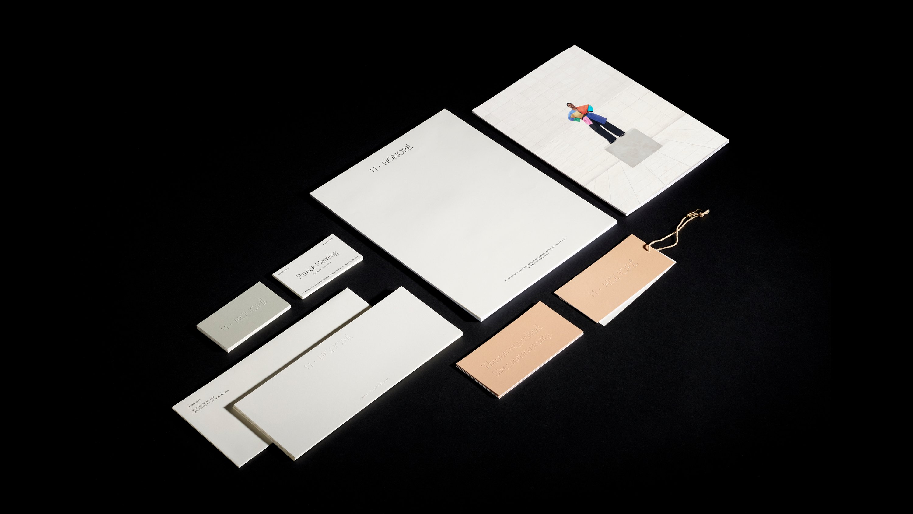 11 Honoré custom letterhead, hang tags, business cards and envelopes, print design and branding c