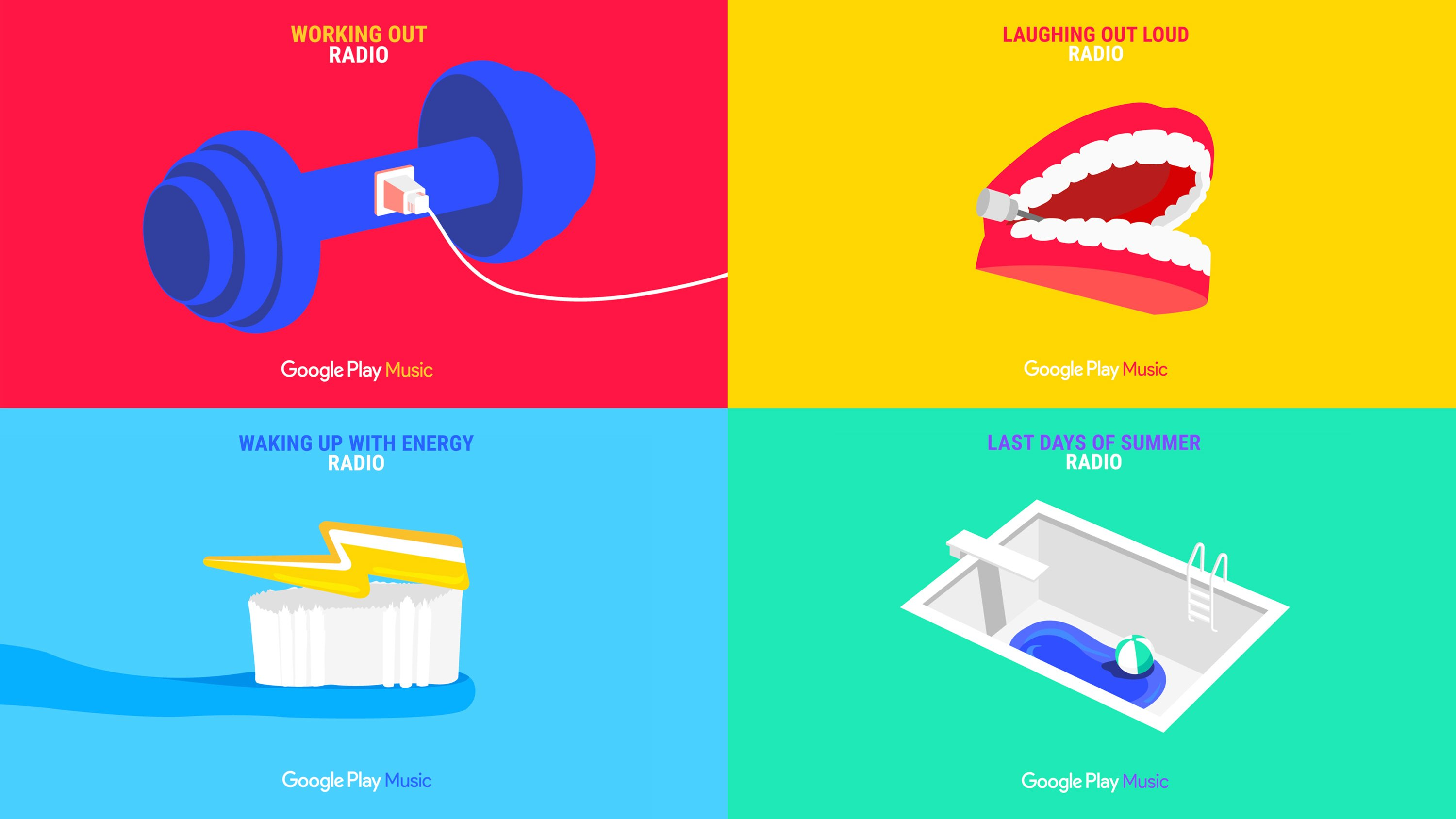 Grid of four Google Play Music Radio ads. Campaign concept and Art Direction by RoAndCo