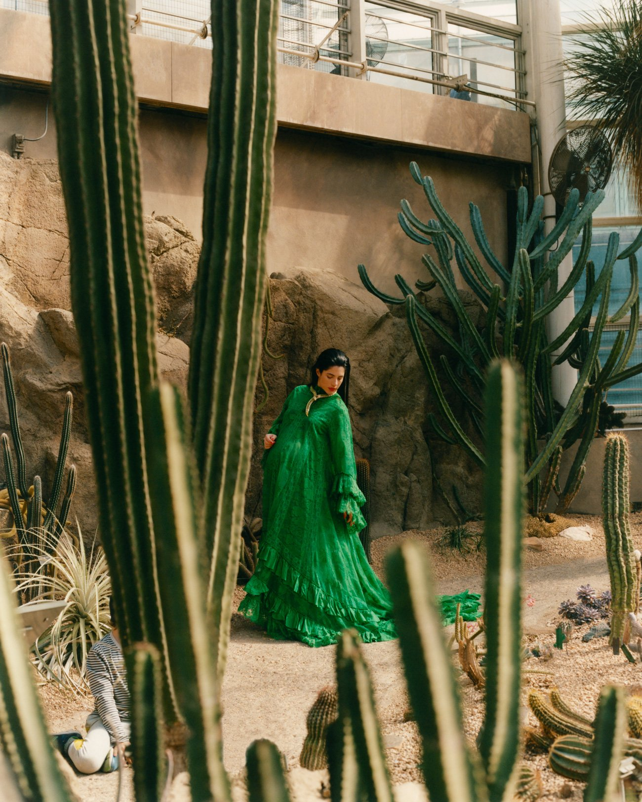 Mayaan Zilberman in green Gucci dress for Romance Journal Issue 03. Publication design, art direction, print design by RoAndCo. RoAndCo partnership with Gucci