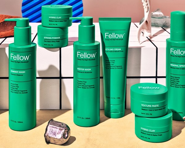 Fellow Product suite on styled countertop, branding and packaging design by RoAndCo Studio