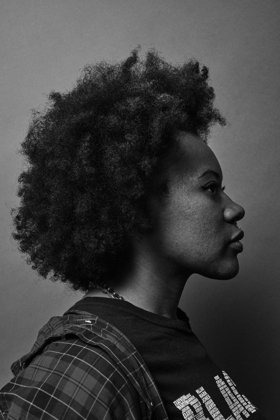 Profile black and white portrait of ShiShi Rose, community organizer and black wellness advocate for Romance Journal Issue 02 Resistance. Publication design, art direction, print design, interviews by RoAndCo.