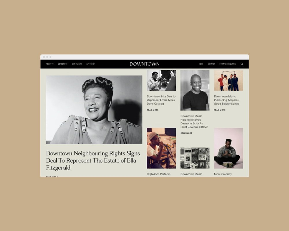 Downtown Music website homepage featuring various artists, designed by RoAndCo Studio