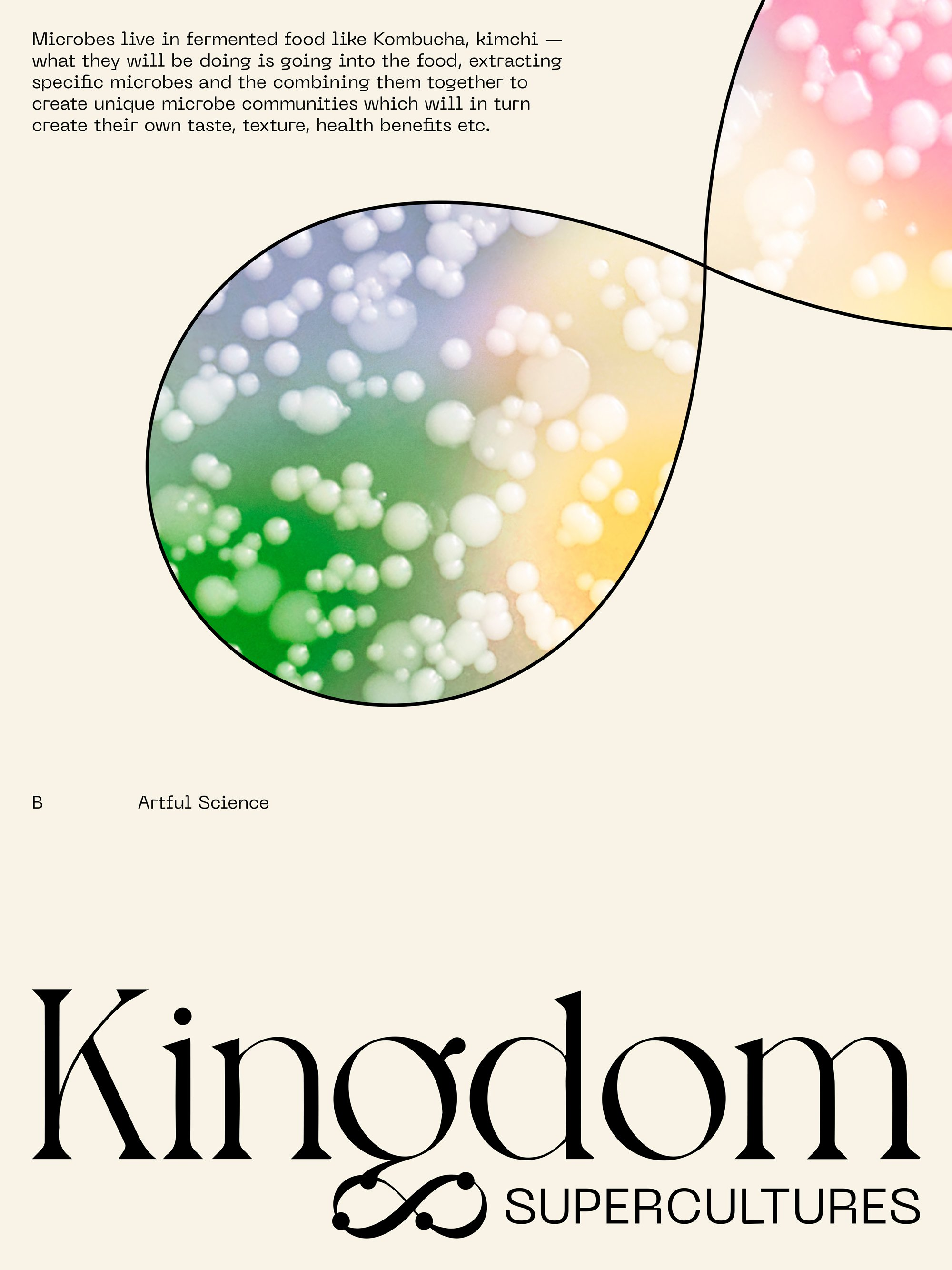 Kingdom Supercultures beige poster with custom infinity sign graphics, designed by RoAndCo