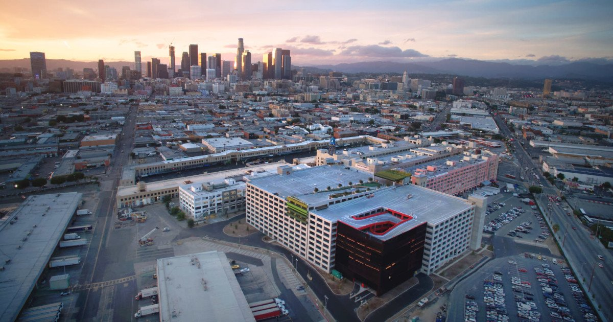 Row DTLA aerial image of buildings and landscape, branding by RoAndCo