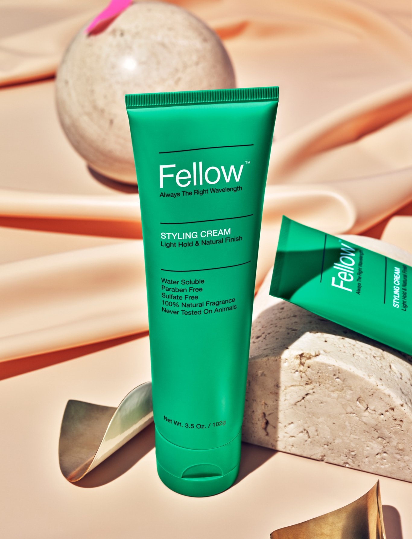 Fellow Signature Styling Cream product shot by Gran Cornett. Packaging and branding by RoAndCo