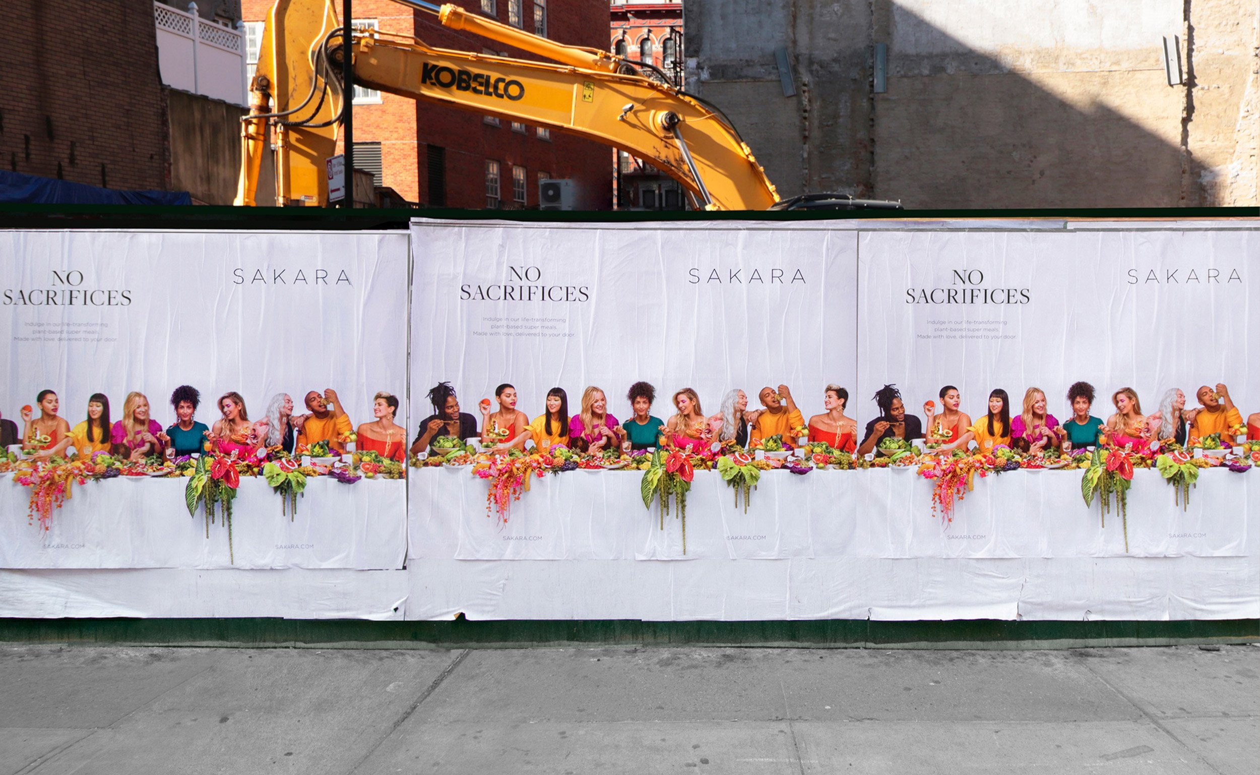 """Sakara """"No Sacrifices"""" campaign wild postings in New York City, Campaign Art direction by RoAndCo"""