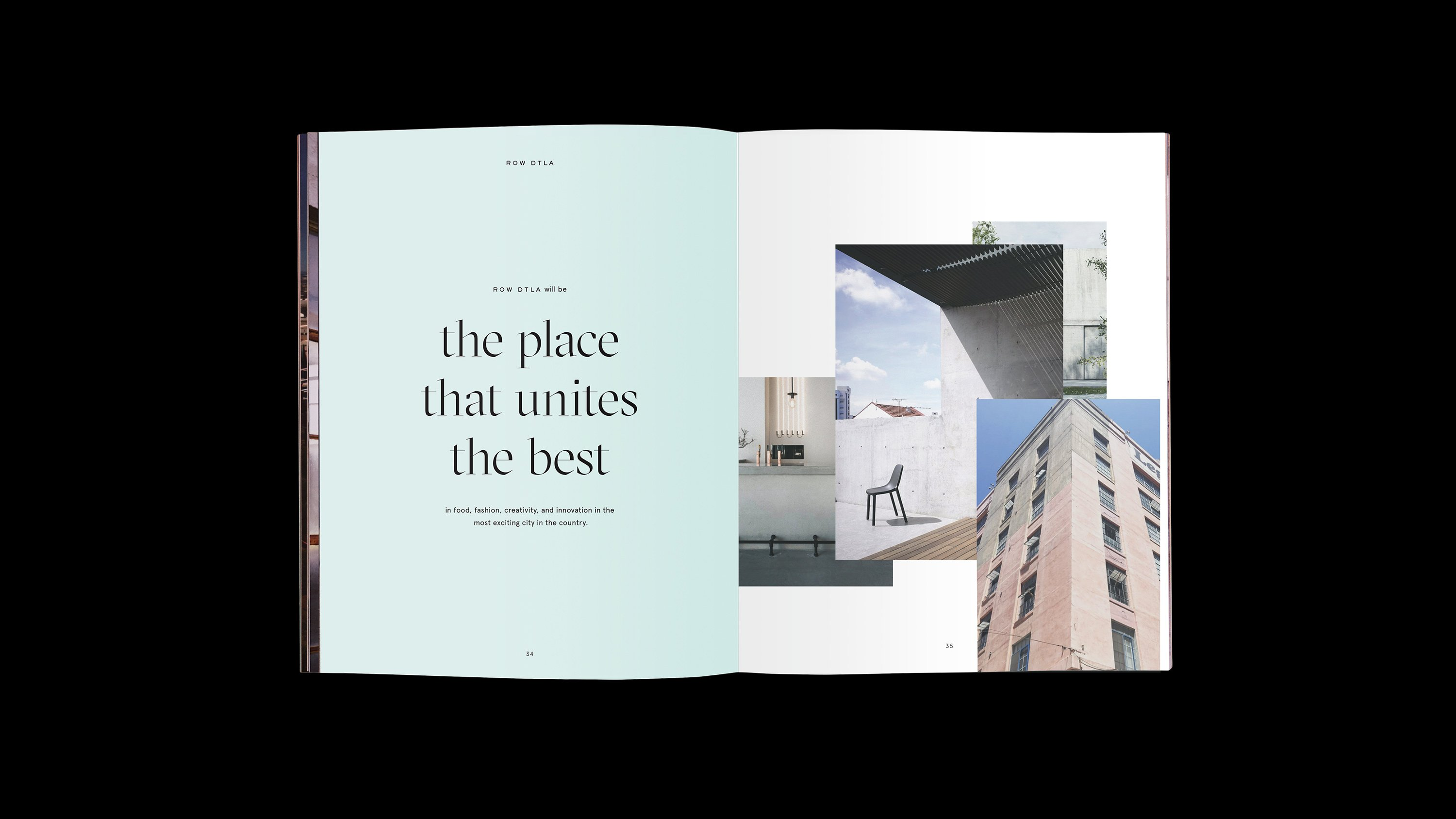 """Row DTLA Brand book interior spread - """"The place that unites the best.""""  Branding and print design by RoAndCo"""