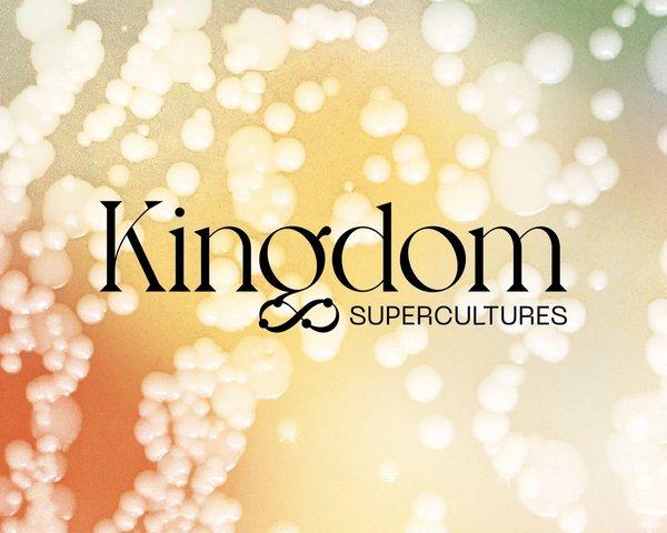 Kingdom Supercultures custom logo on custom design bubble background, by RoAndCo Studio