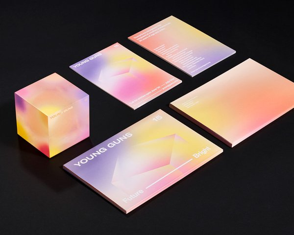 Young Guns printed materials in gradient color, Design by RoAndCo
