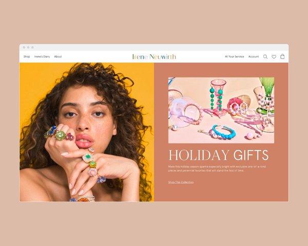 Irene Neuwirth website homepage. E-commerce design by RoAndCo