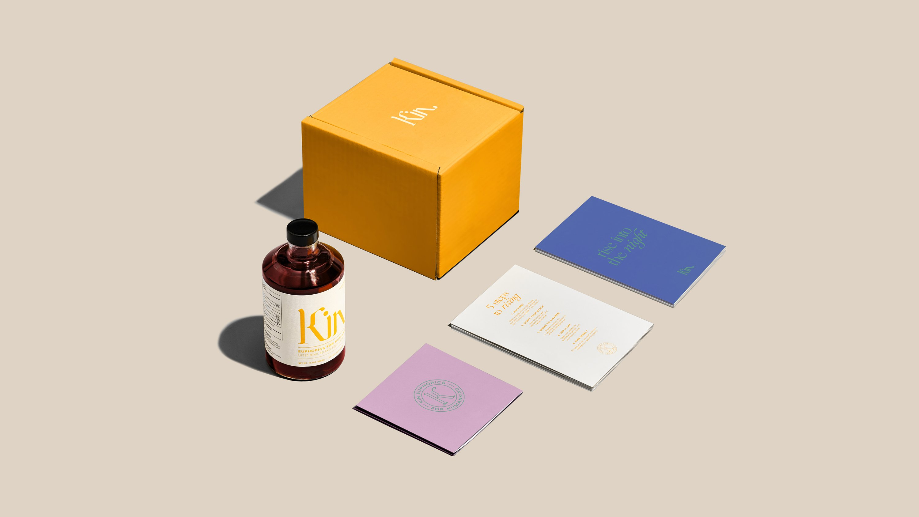 Kin Euphorics branding and packaging suite, in partnership with RoAndCo