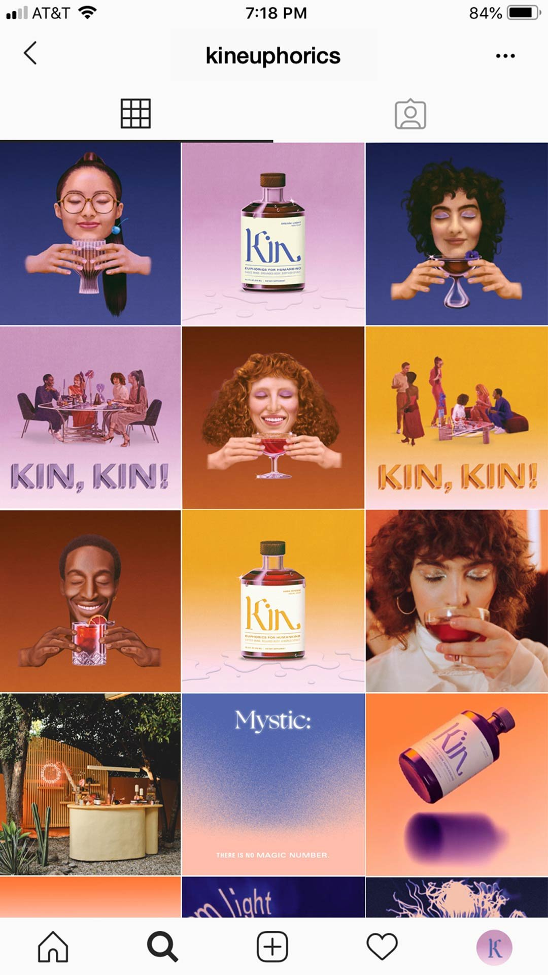 Kin Euphorics Campaign launch instagram grid. Campaign art direction and strategy by RoAndCo Studio