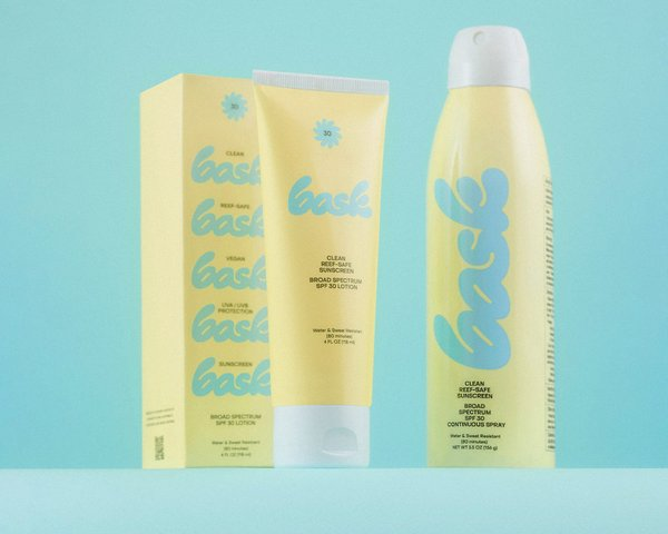 Bask Sunscreen Packaging suite, designed by RoAndCo