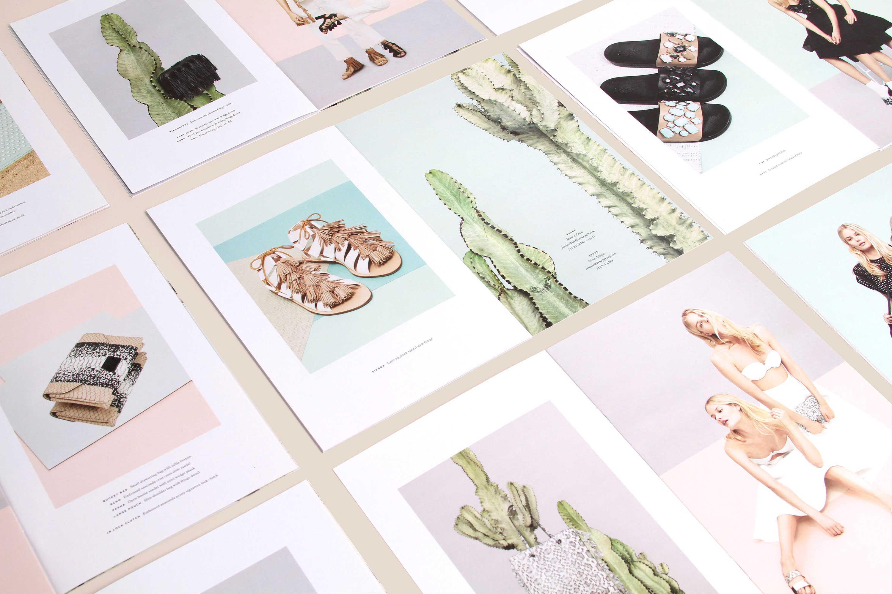 Various Loeffler Randall open spreads featuring sandals and woven bags. Art direction by RoAndCo
