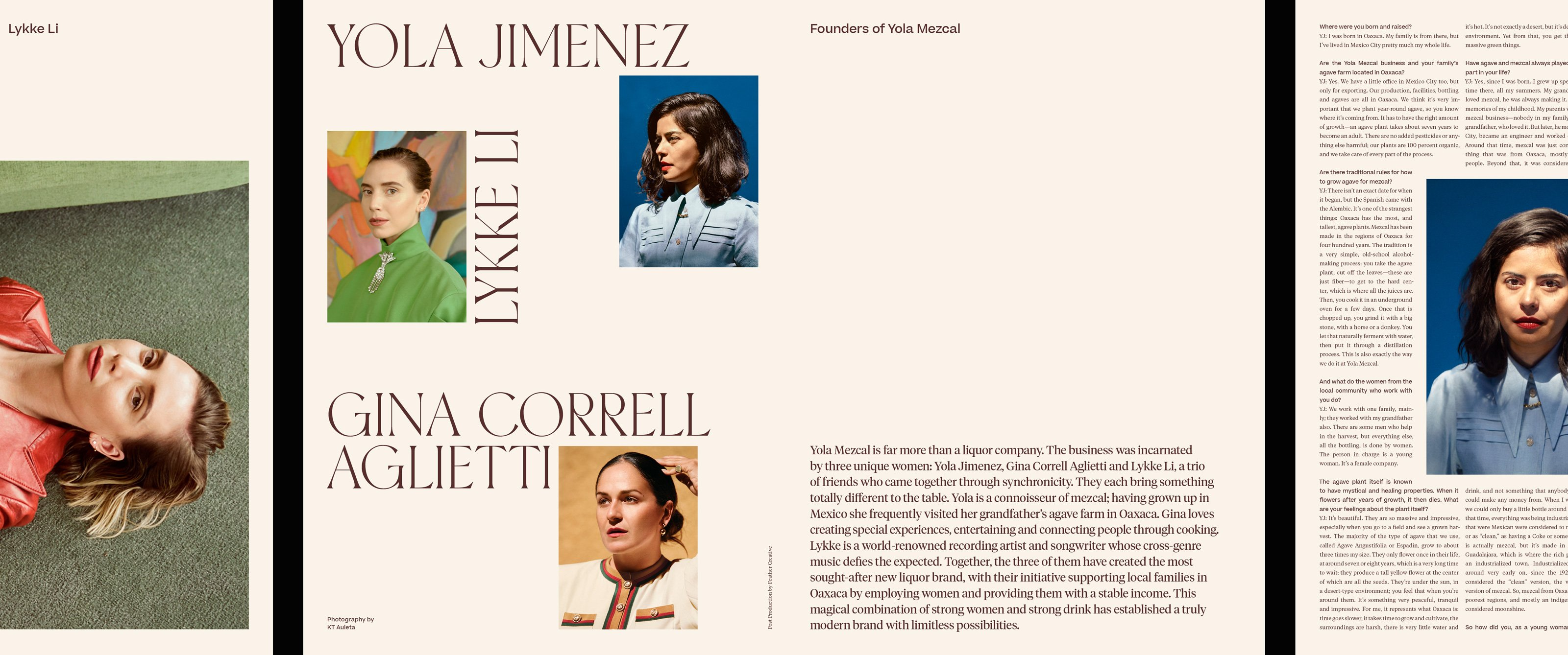 Yola Jimenez, Lykke Li, and Gina Correll Aglietti spread in Romance Journal Issue 03. Romance Journal issue 03 cover – Creation. Publication design, art direction, print design, interviews by RoAndCo