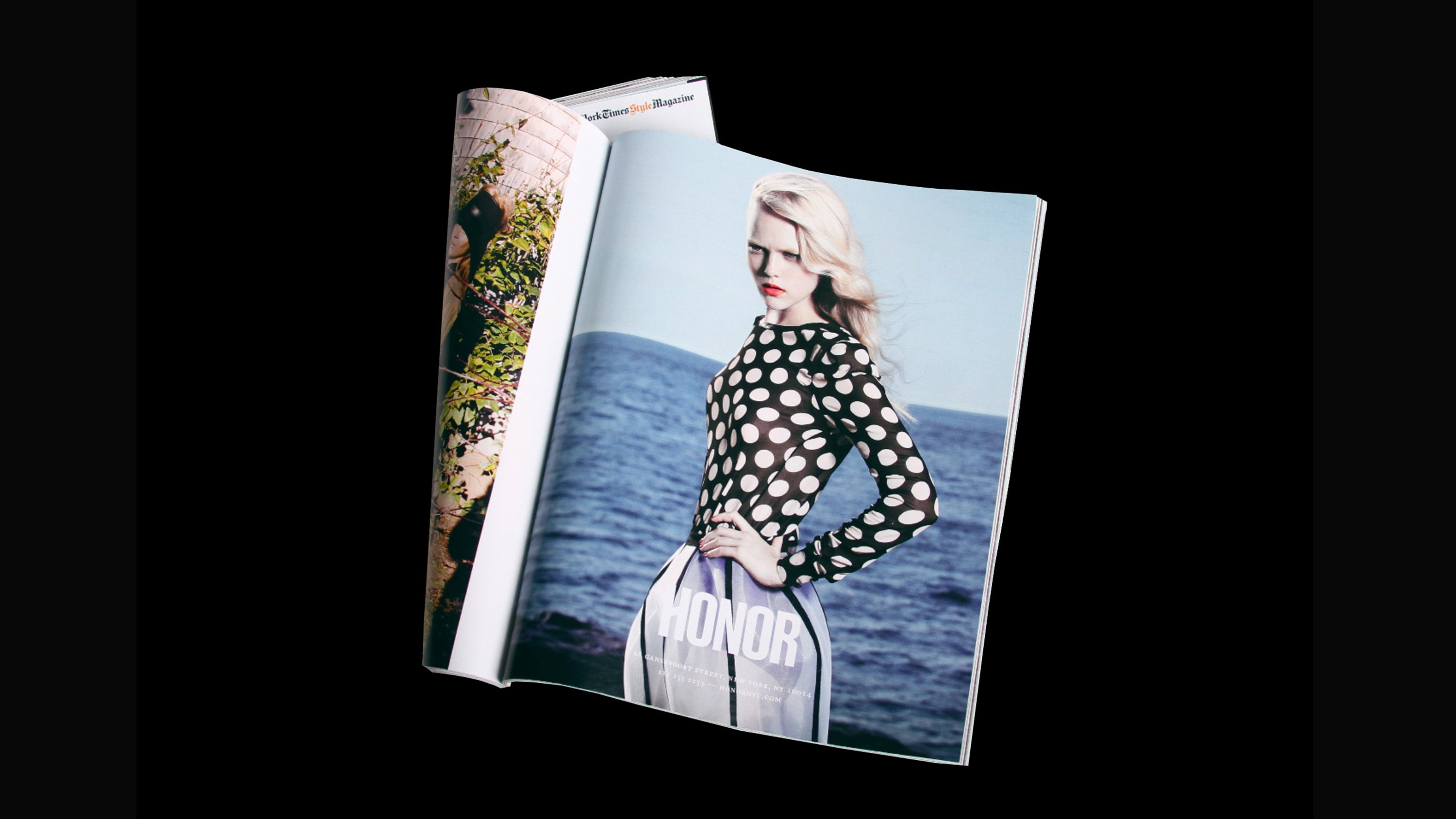 Honor SS12 Campaign ad in magazine, branding by RoAndCo