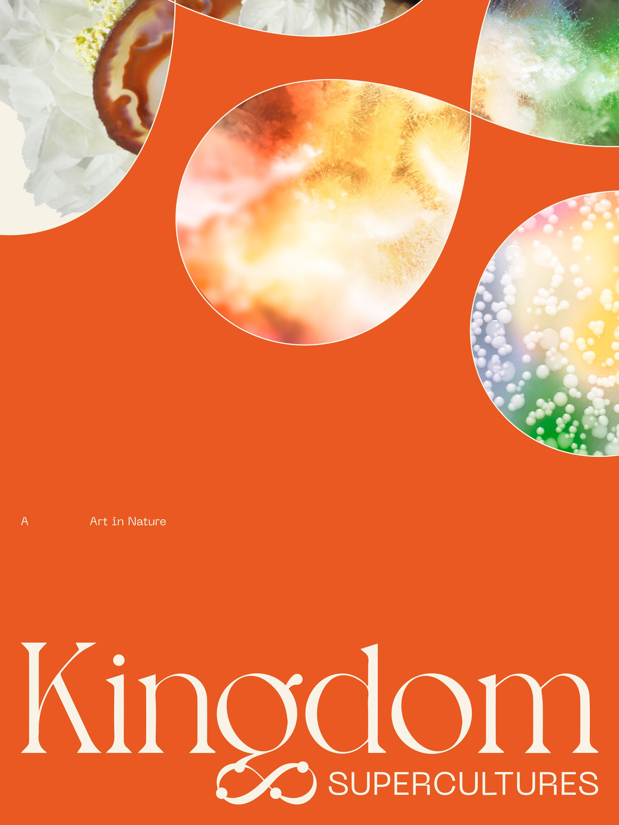 Kingdom Supercultures orange poster with custom infinity sign graphics, designed by RoAndCo