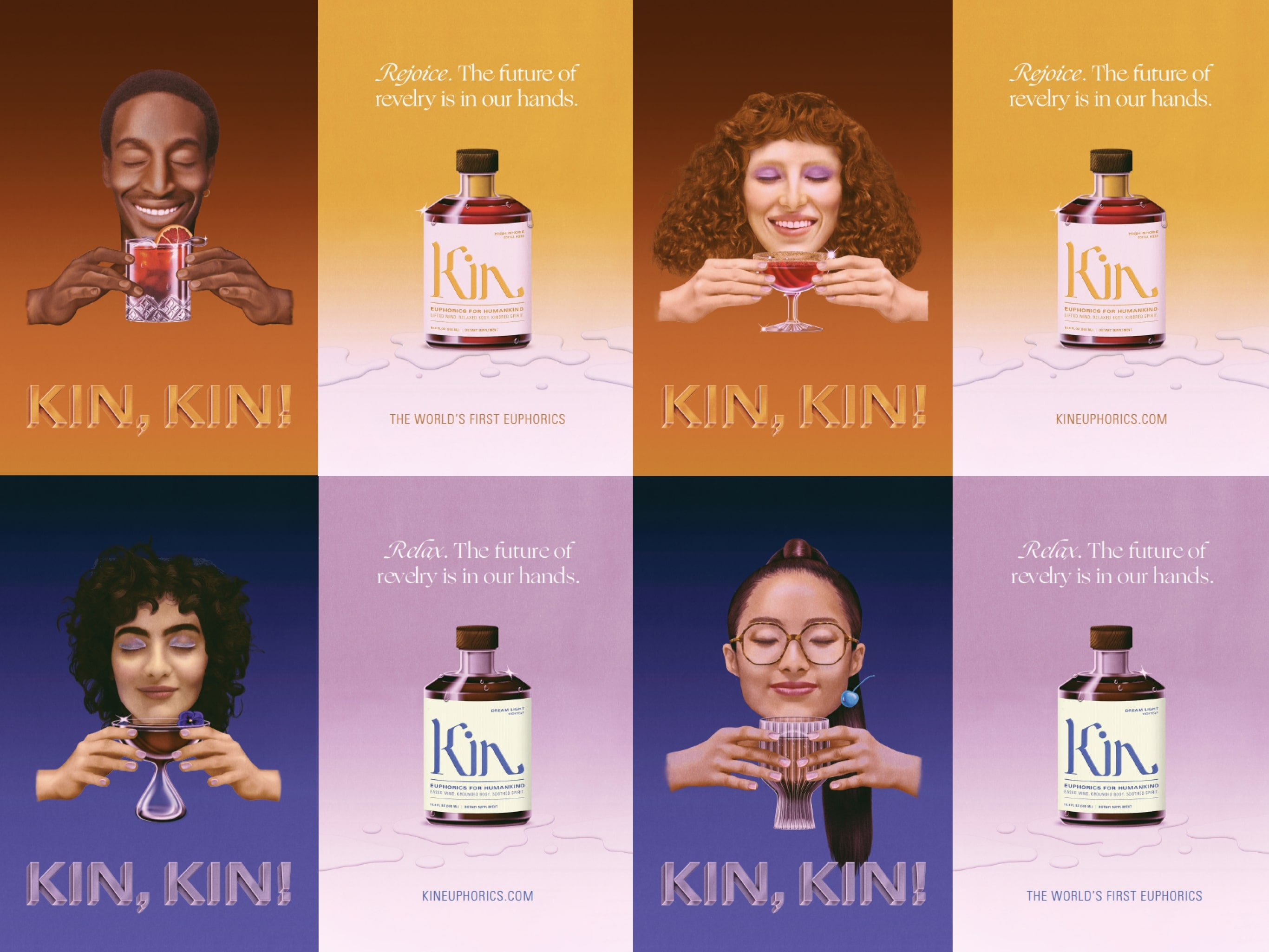 Kin Euphorics campaign posters, illustrations by Robert Beatty. Campaign Art Direction by RoAndCo