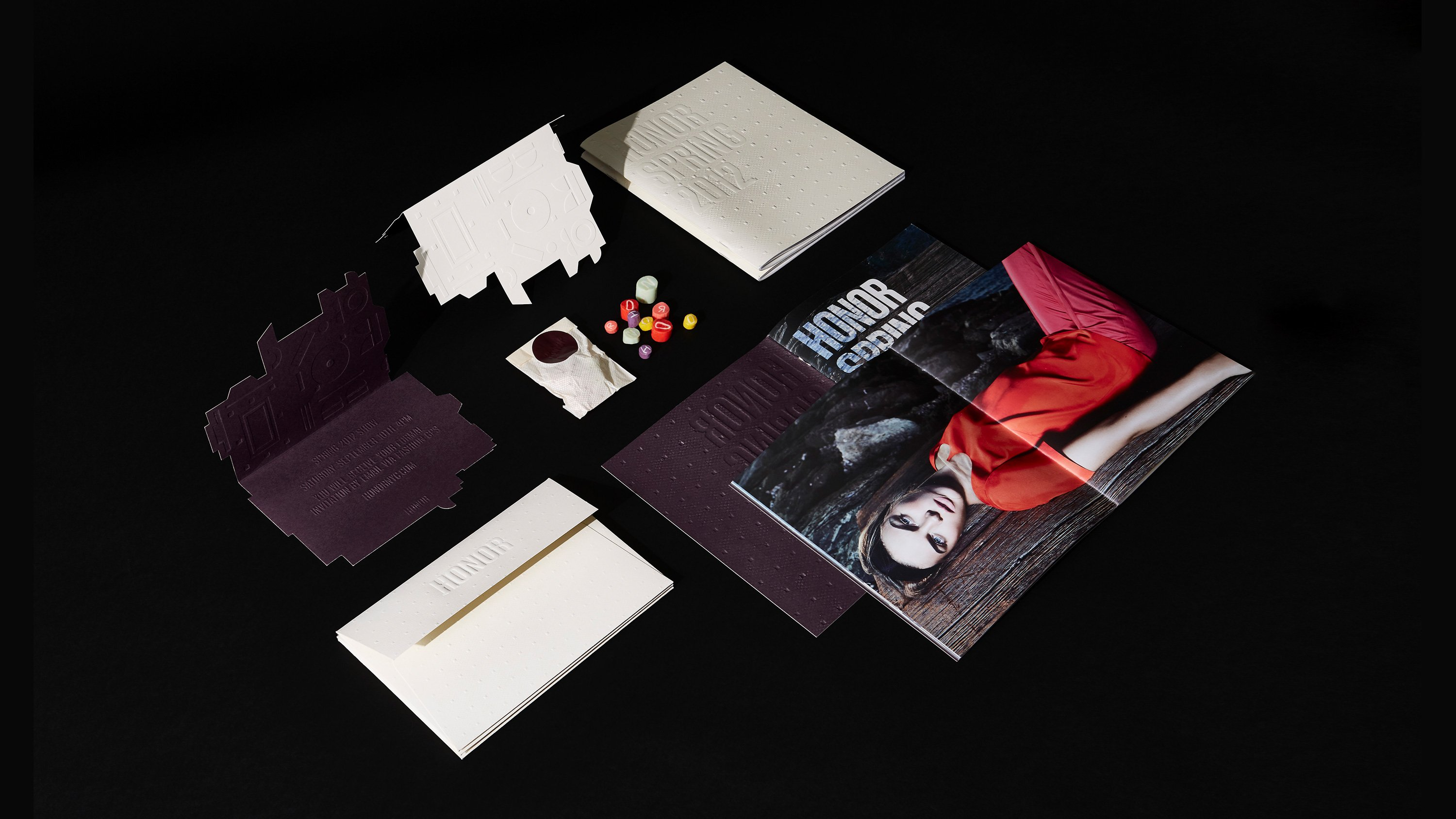 Various printed Honor stationary and posters, designed by RoAndCo