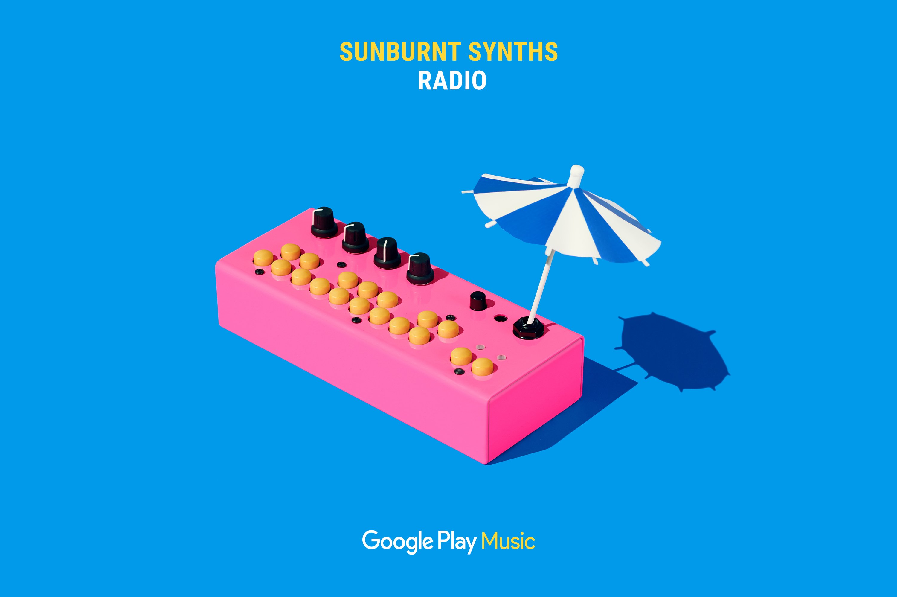 Google Play Music – Sunburnt Synths Radio ad featuring pink mini synth with pool umbrella. Campaign concept and Art Direction by RoAndCo