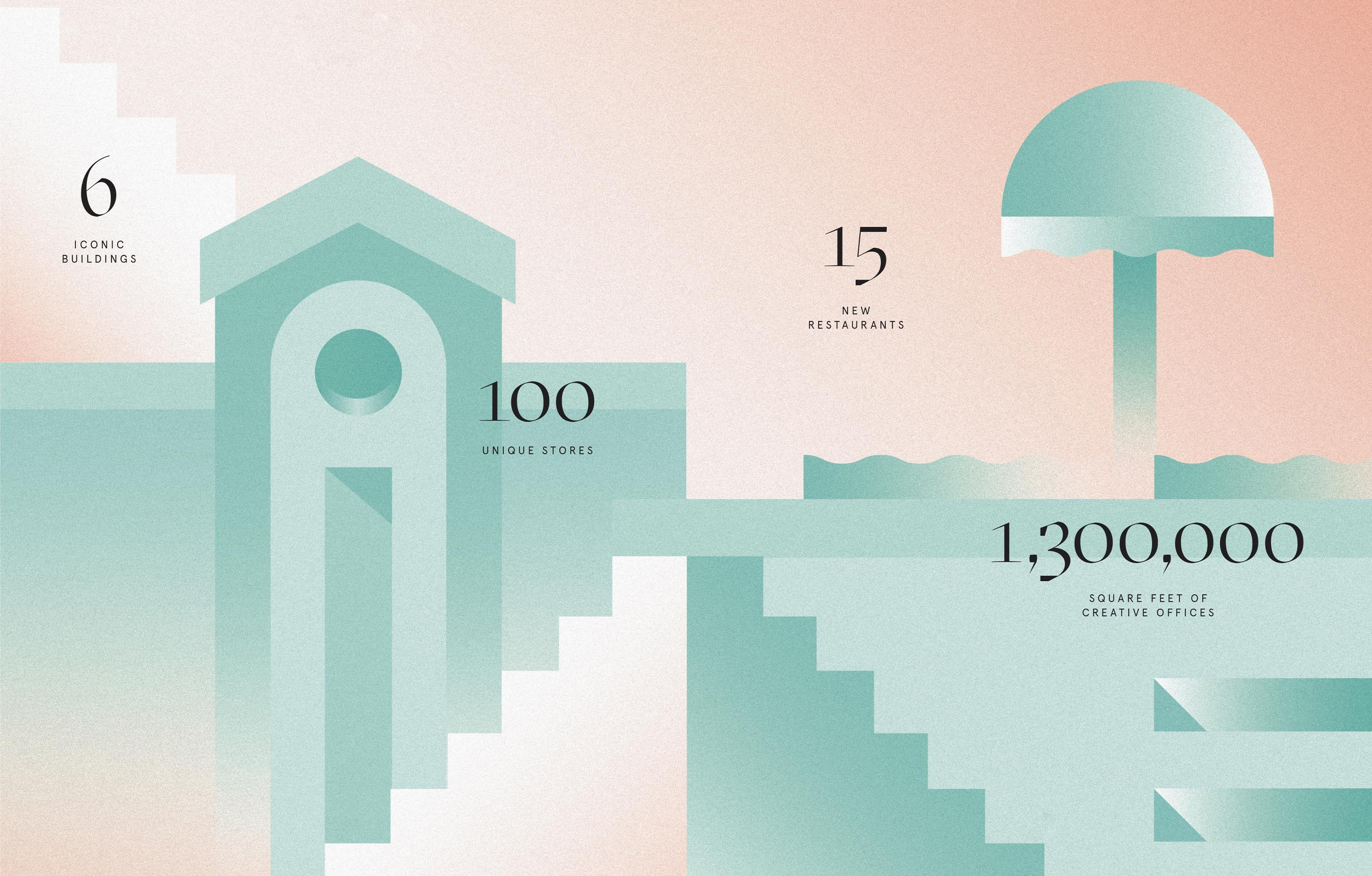 Row DTLA architectural infographic, branding and print design by RoAndCo