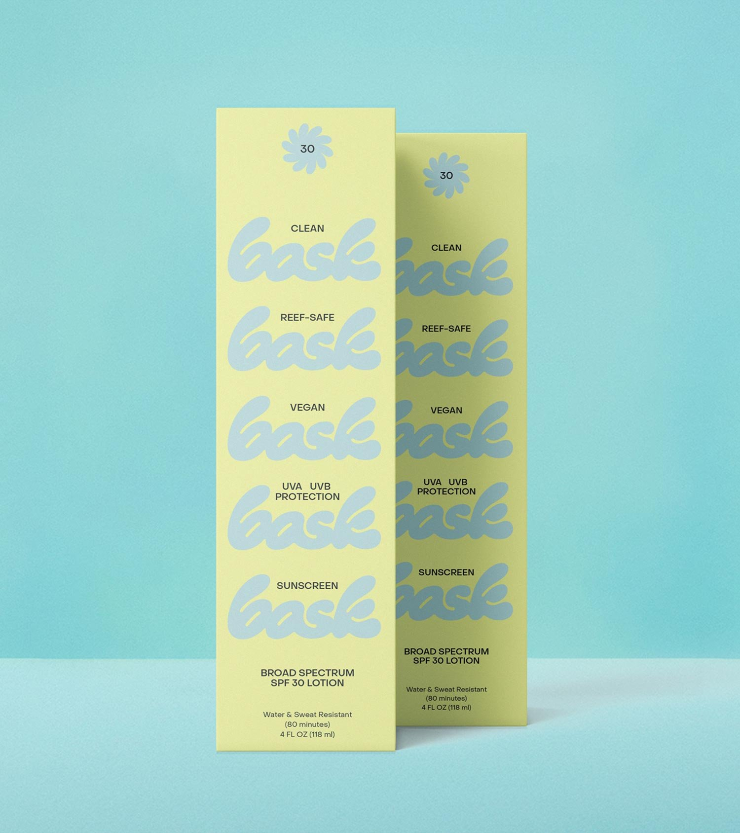 Bask Suncare SPF 30 Lotion Packaging, designed by RoAndCo