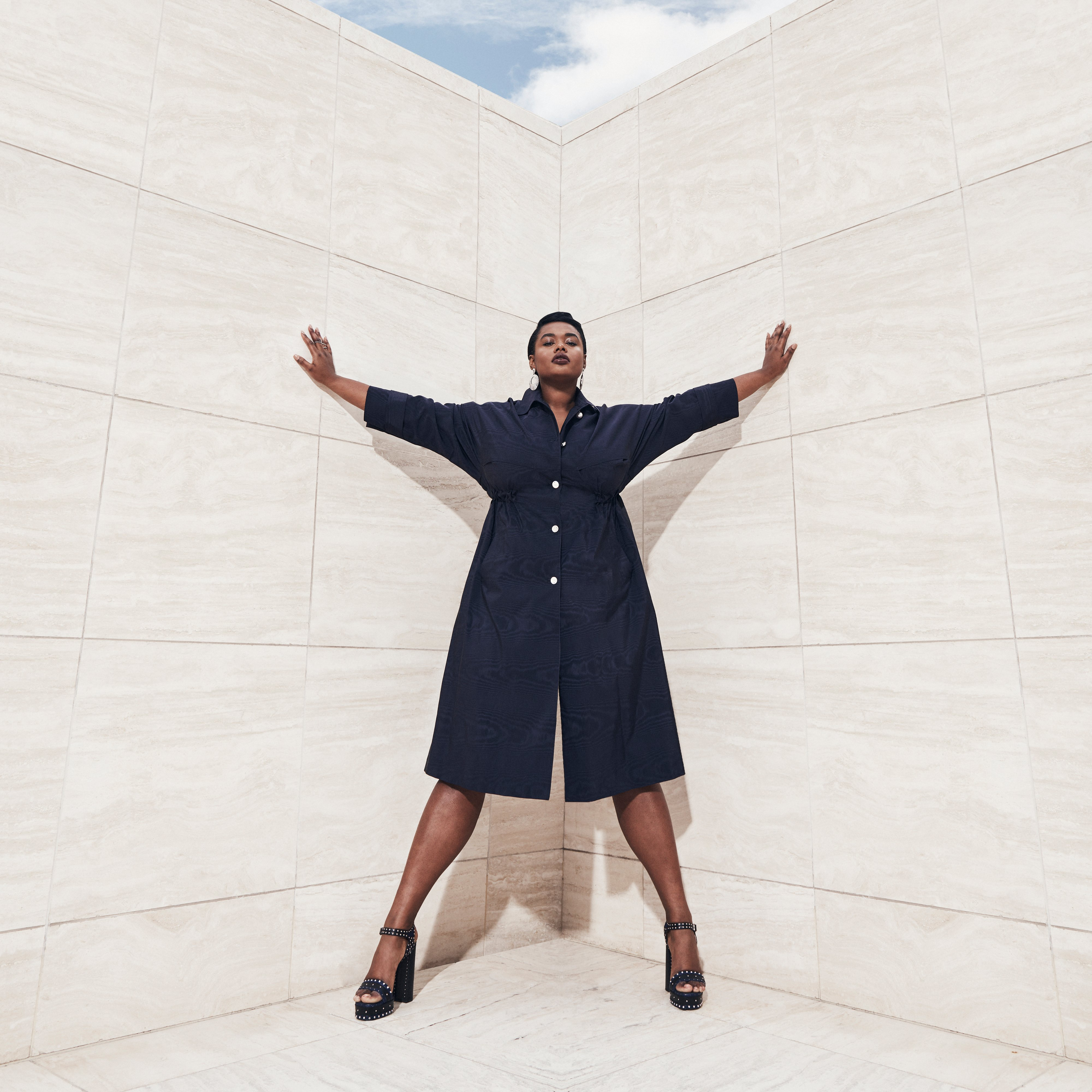 Model Precious Lee wearing designer shirt dress, Ad campaign. Art Direction by RoAndCo