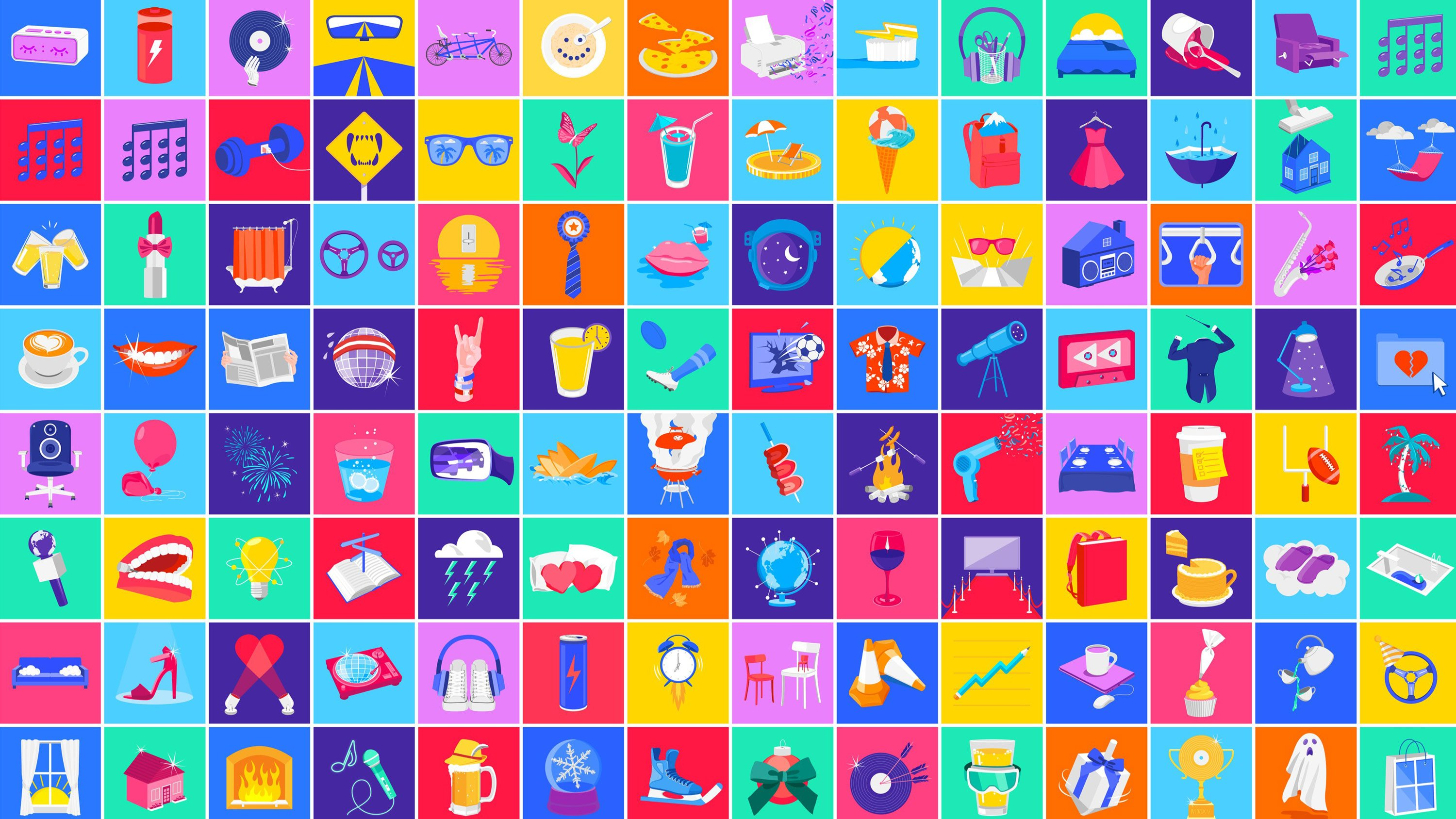 Grid of every icon made for Google Play Music by RoAndCo Studio. Sunglasses, beach ball, lemonade, light bulb, chairs, traffic cones, palm tree, dress, flowers, shopping bag.
