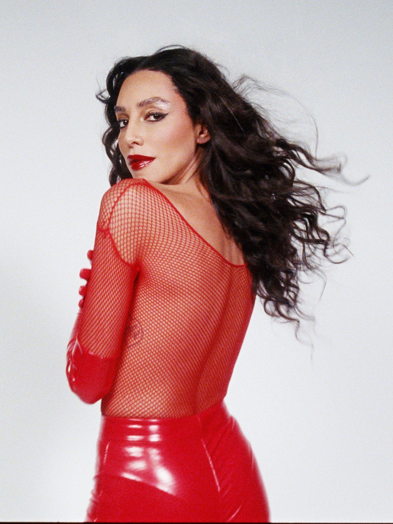 Lea T wearing Mac Viva Glam red lipstick for 25th Anniversary campaign, by RoAndCo Studio