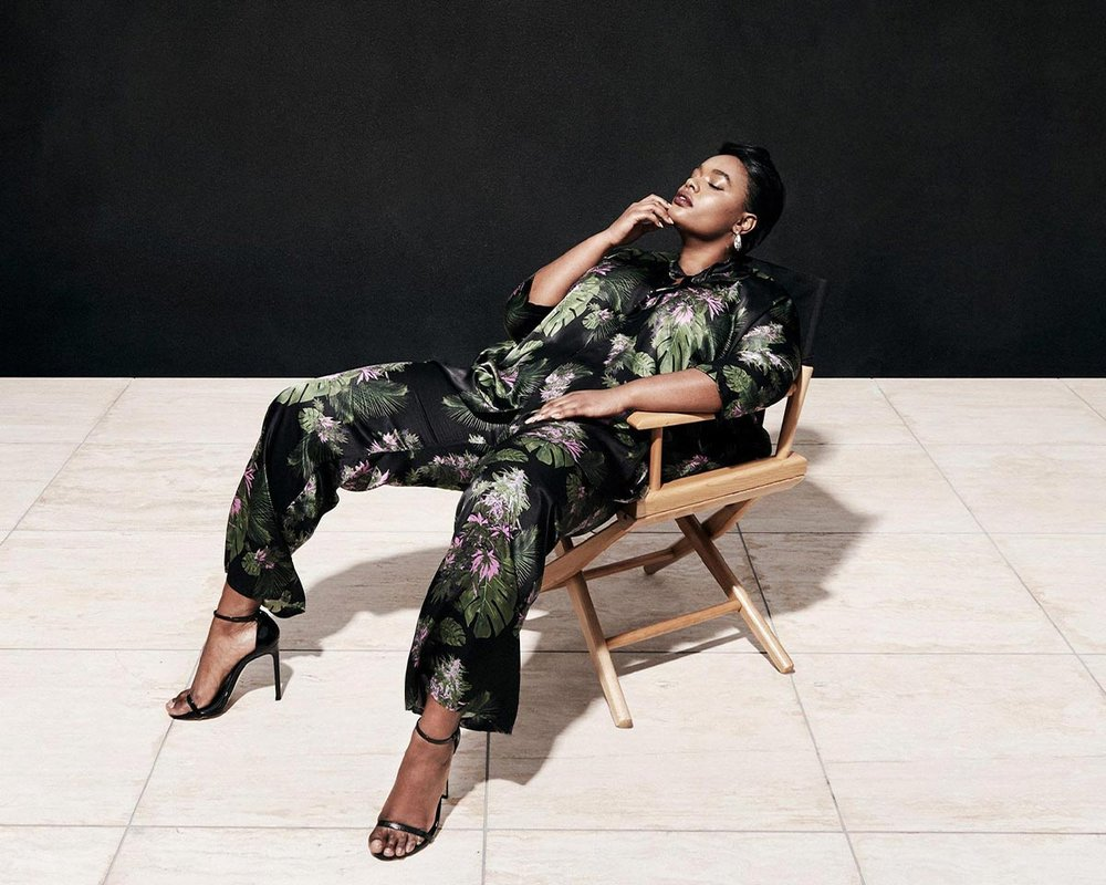 Model Precious Lee for 11 Honoré –wearing matching floral silk shirt and pants. Art Direction by RoAndCo