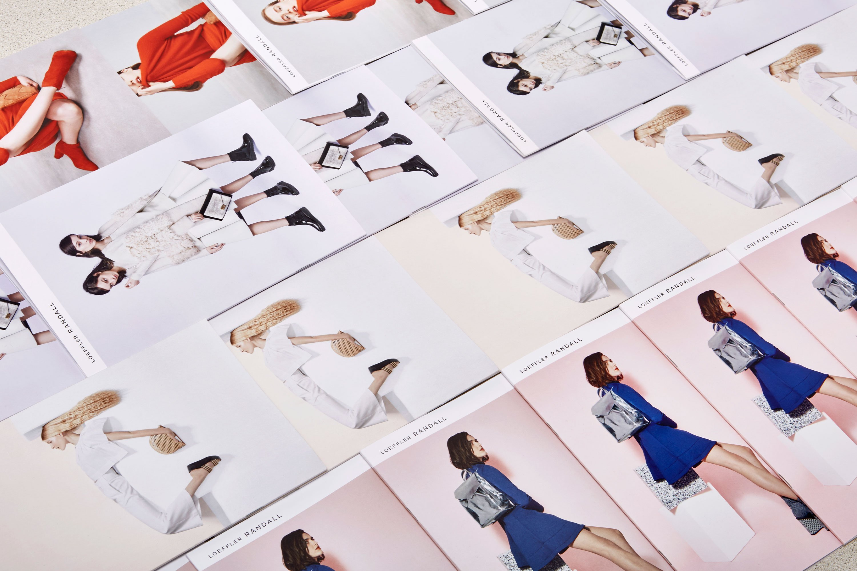 Overview of printed campaign ads featuring Loeffler Randall shoes and accessories. Art Direction by RoAndCo