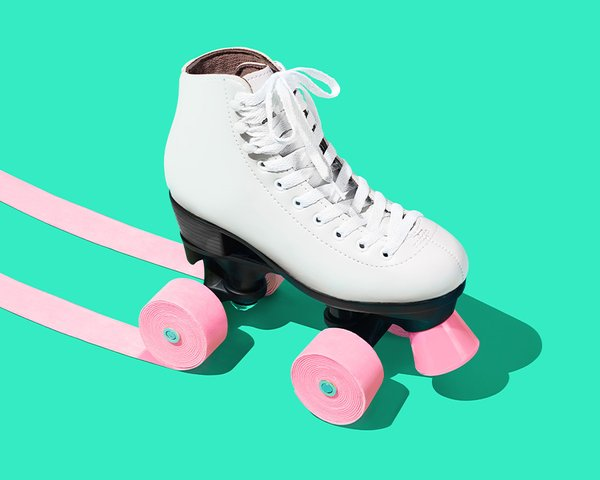 Google Play campaign ad –roller skate with bubblegum wheels. Campaign concept and Art Direction by RoAndCo