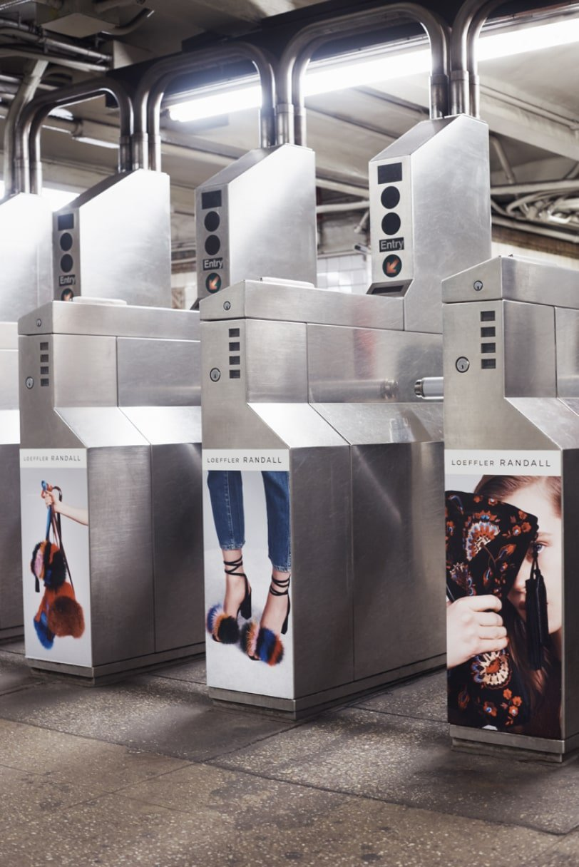 Loeffler Randall NYC subway ad takeover. Branding and Art direction by RoAndCo