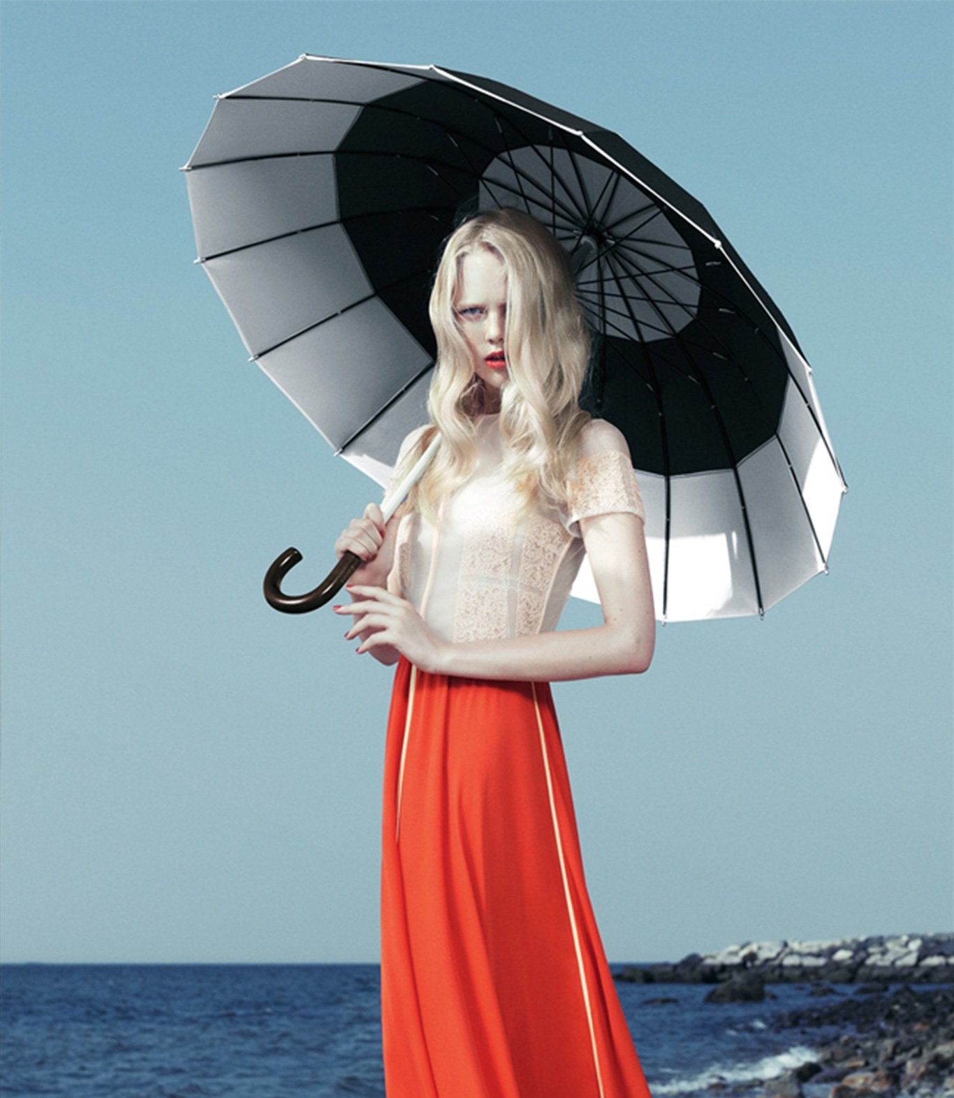 Model in white and red Honor outfit, Art Direction by RoAndCo