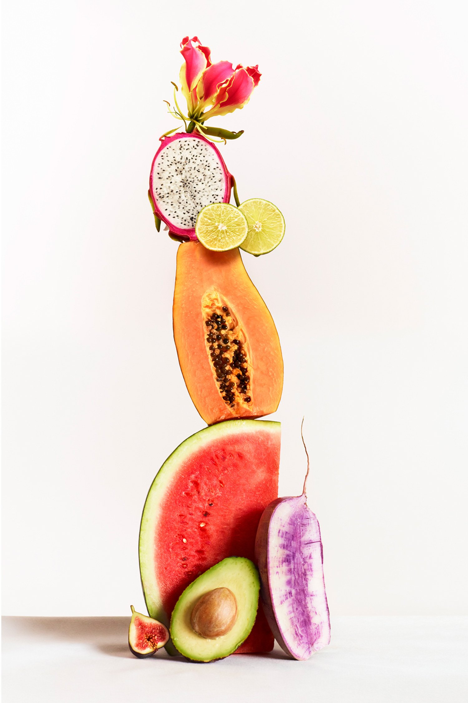 Stacked fruits and vegetables for Sakara campaign, Art direction by RoAndCo